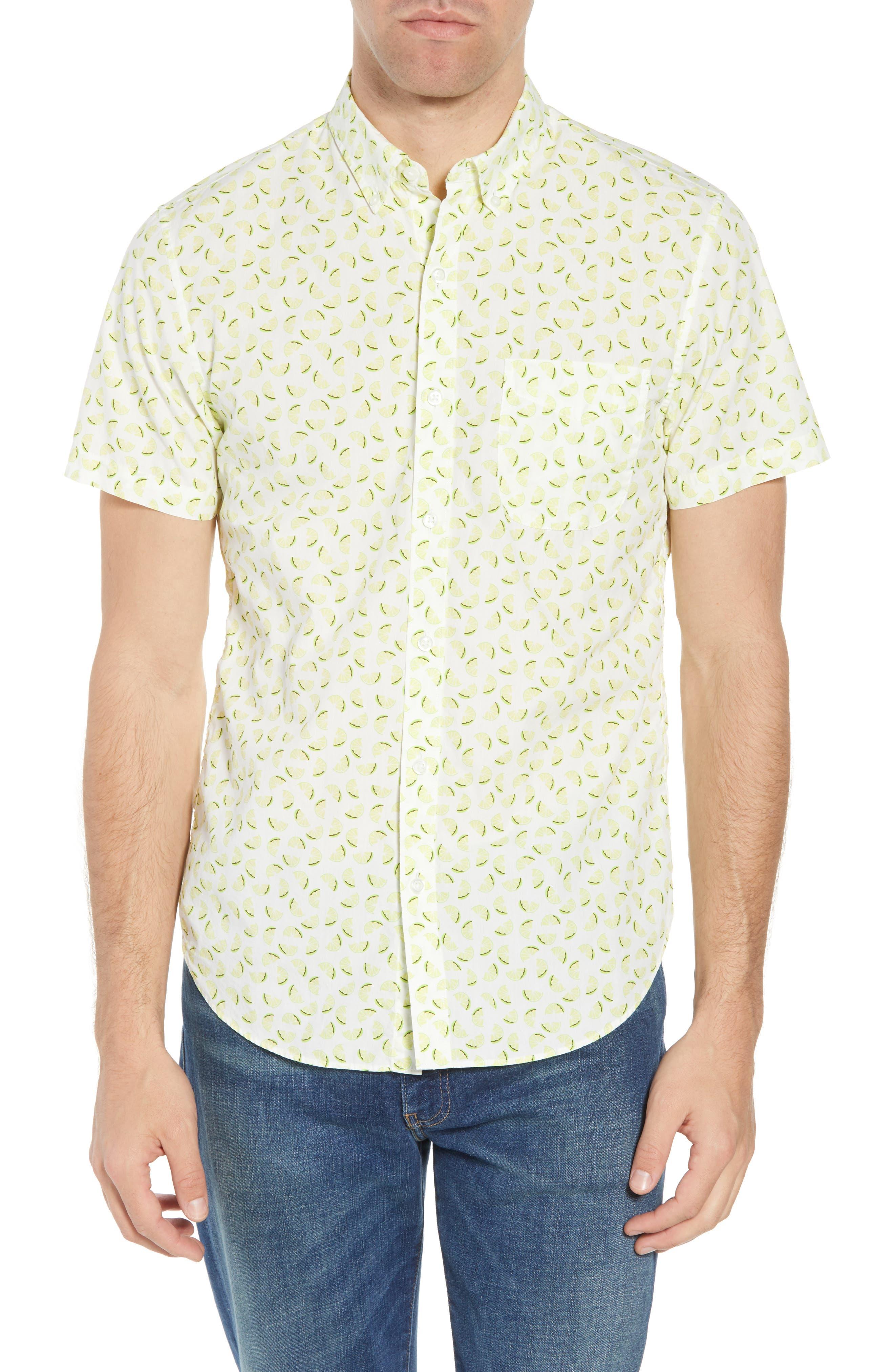 Slim Fit Citrus Print Sport Shirt,                         Main,                         color, Lemon Toss - Acid Lime