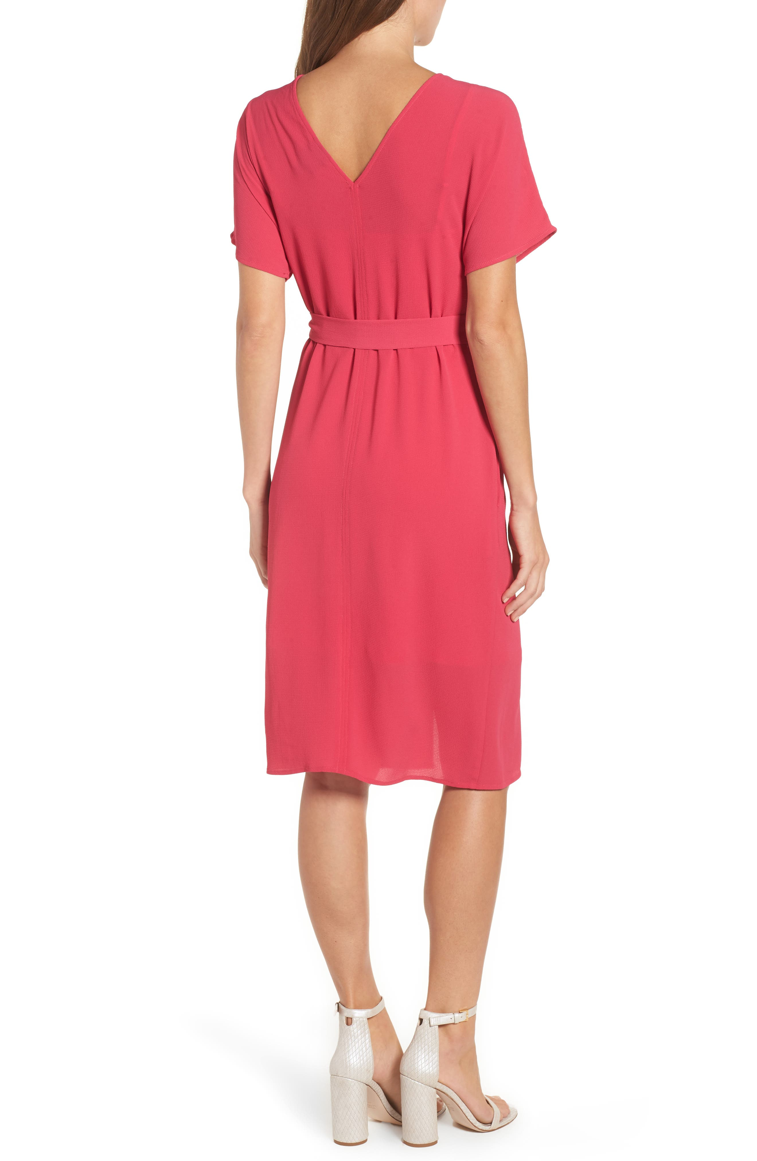 Stretch Crepe Dress,                             Alternate thumbnail 2, color,                             Bright Rose