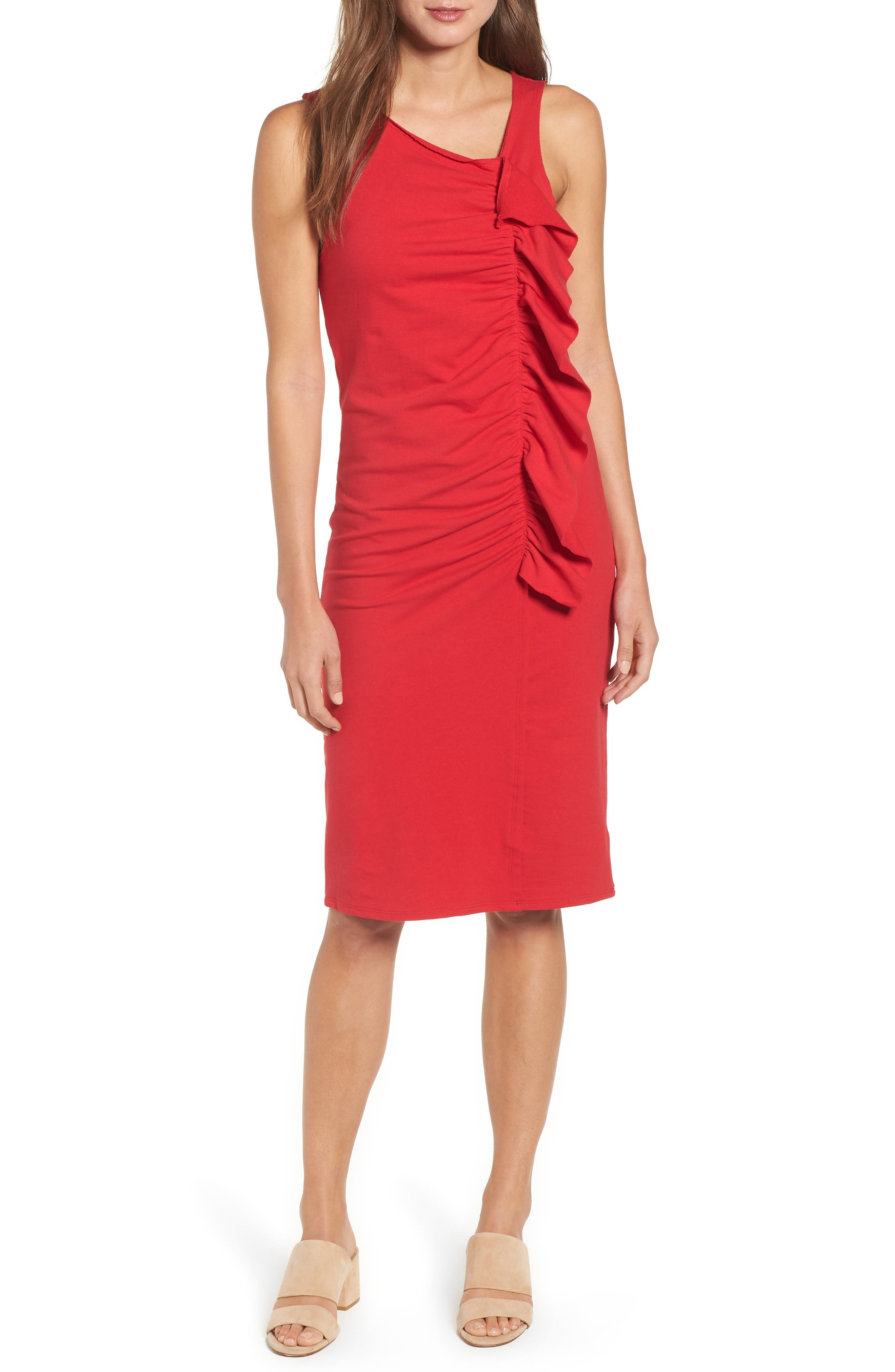 French Terry Ruffle Front Dress,                         Main,                         color, Red Tomato