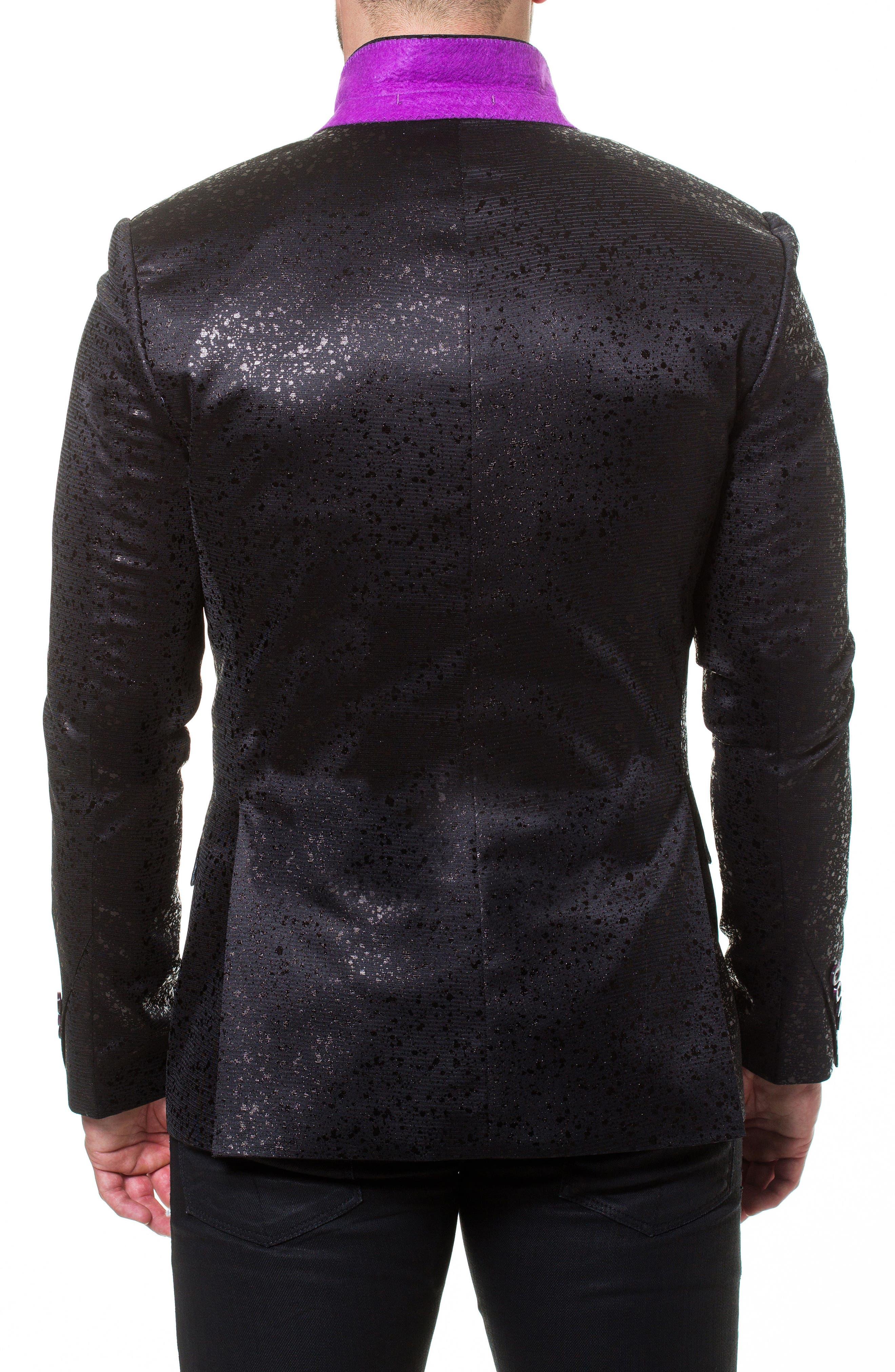 Elegance Splatter Sport Coat,                             Alternate thumbnail 3, color,                             Black