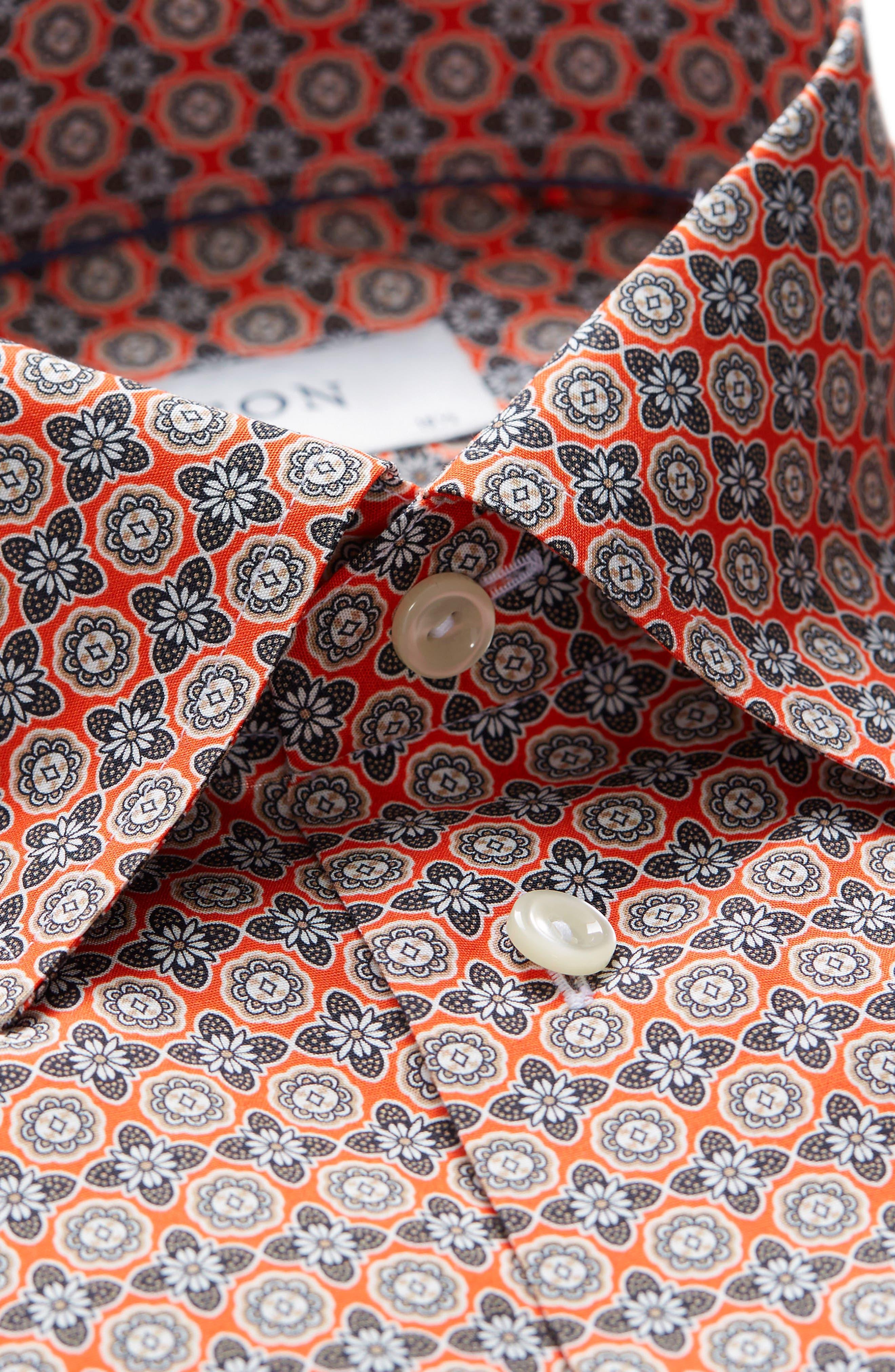 Slim Fit Floral Geometric Dress Shirt,                             Alternate thumbnail 2, color,                             Yellow/ Orange