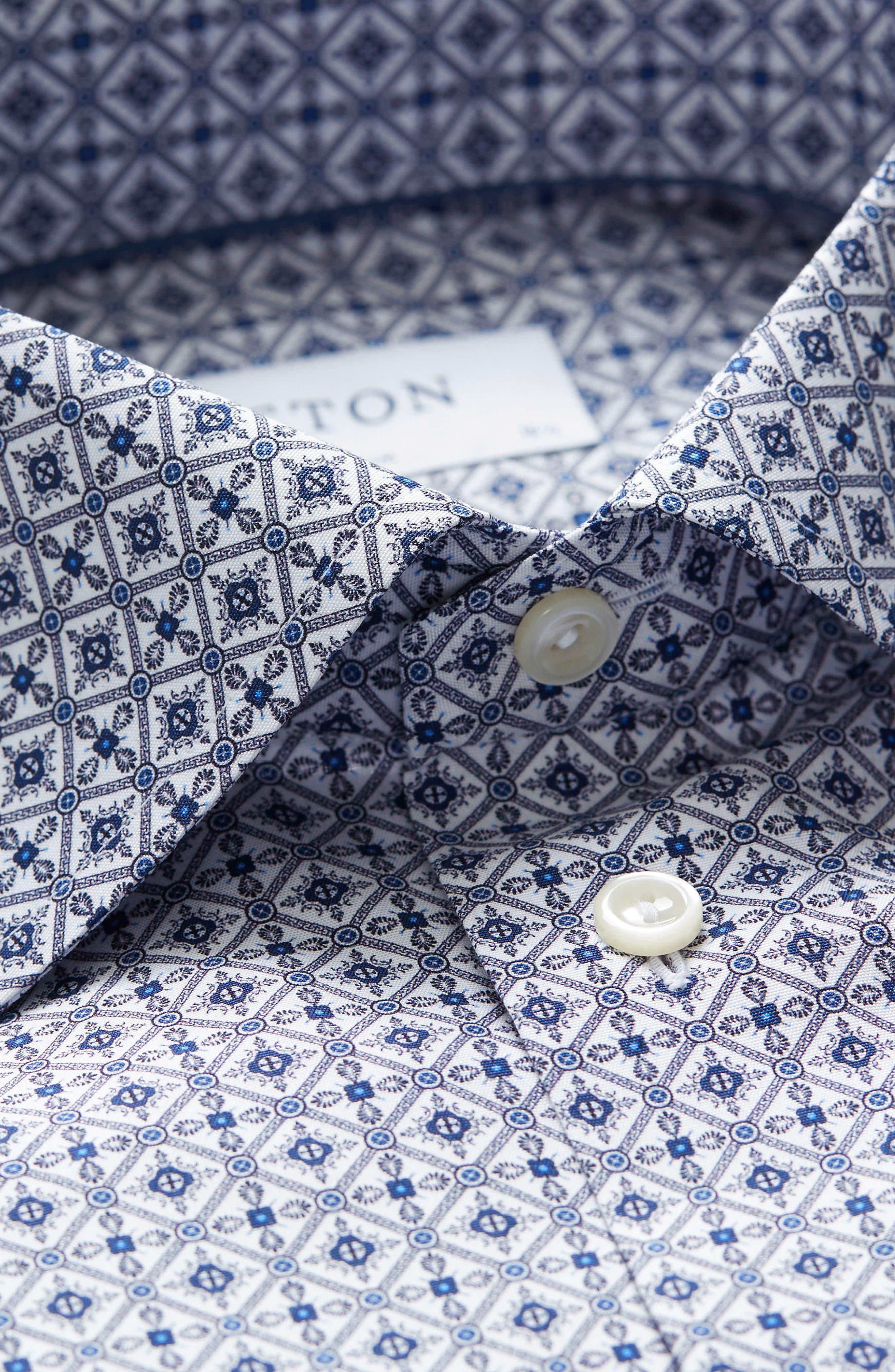 Slim Fit Medallion Print Dress Shirt,                             Alternate thumbnail 5, color,                             Blue