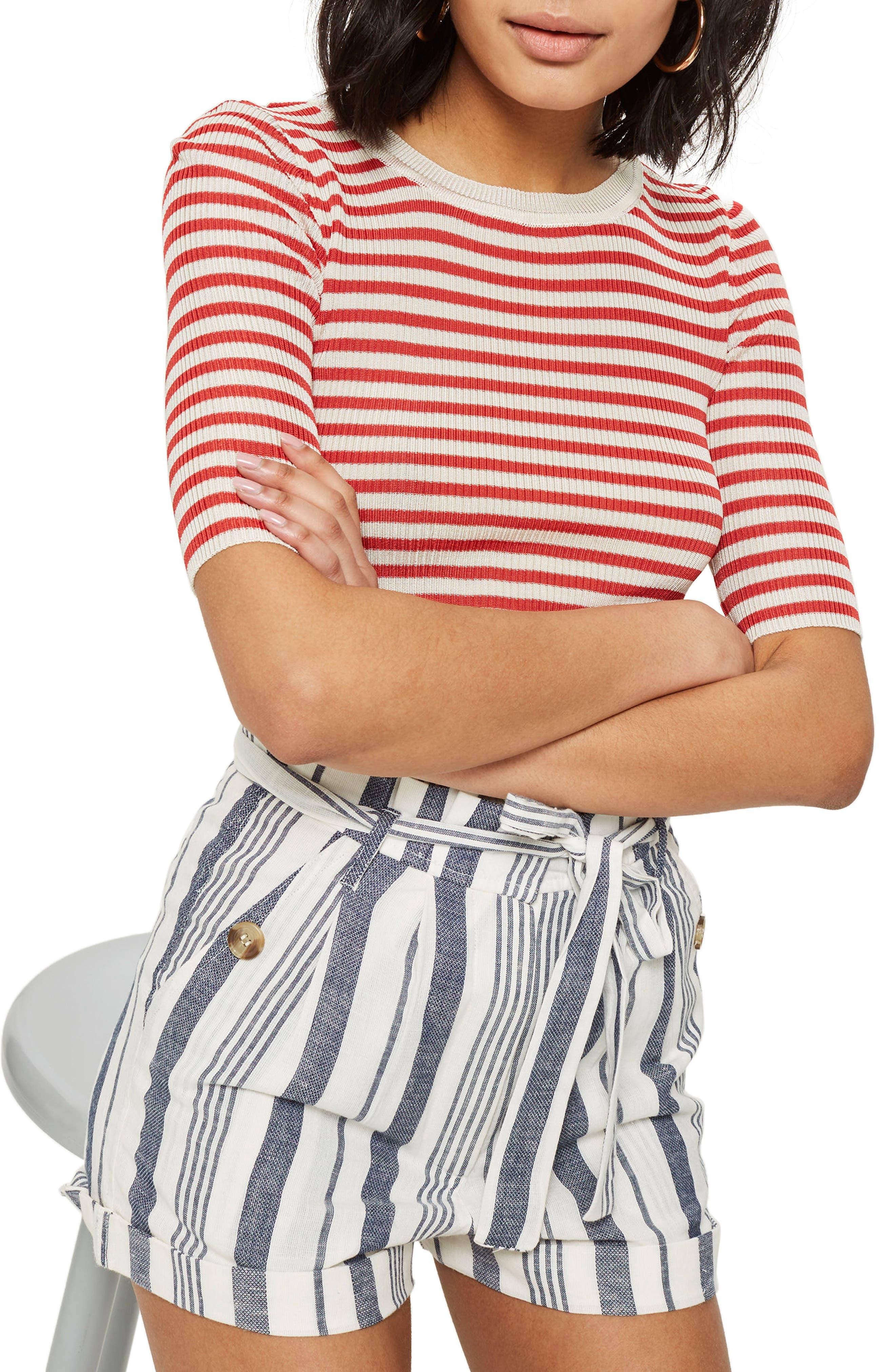 Stripe Paperbag Shorts,                             Alternate thumbnail 3, color,                             Ivory Multi