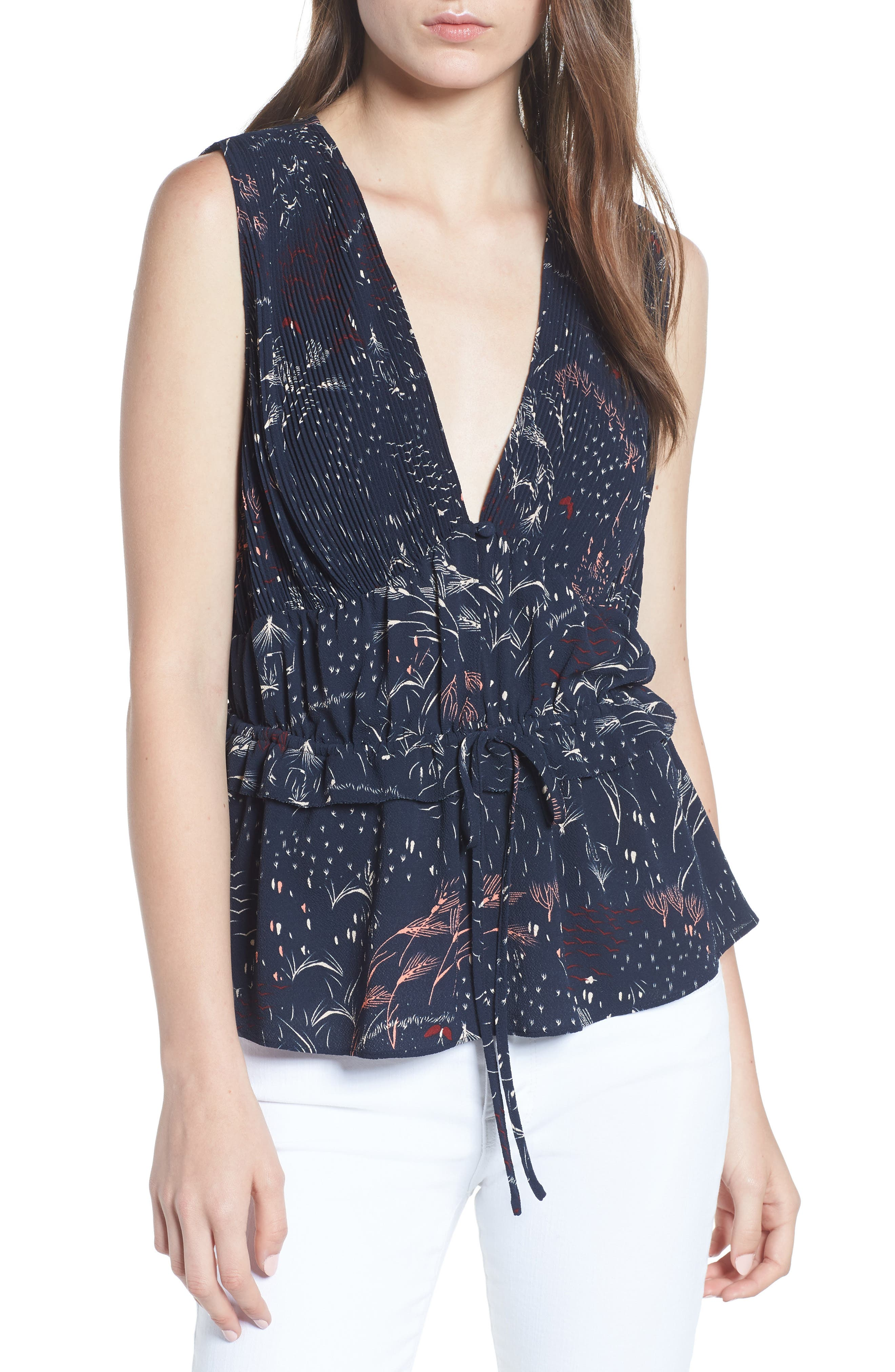 Pleated Tank,                         Main,                         color, Navy Blazer Feather Grass