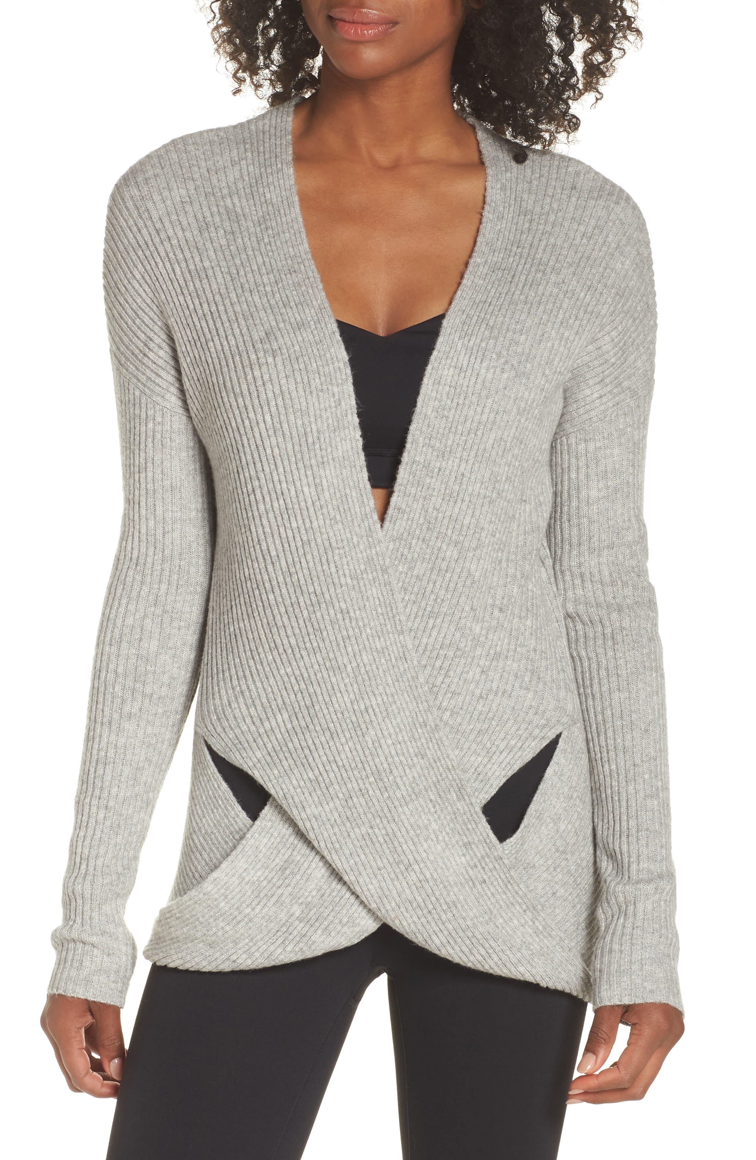 Wrap Sweater, Main, color, Grey Heather