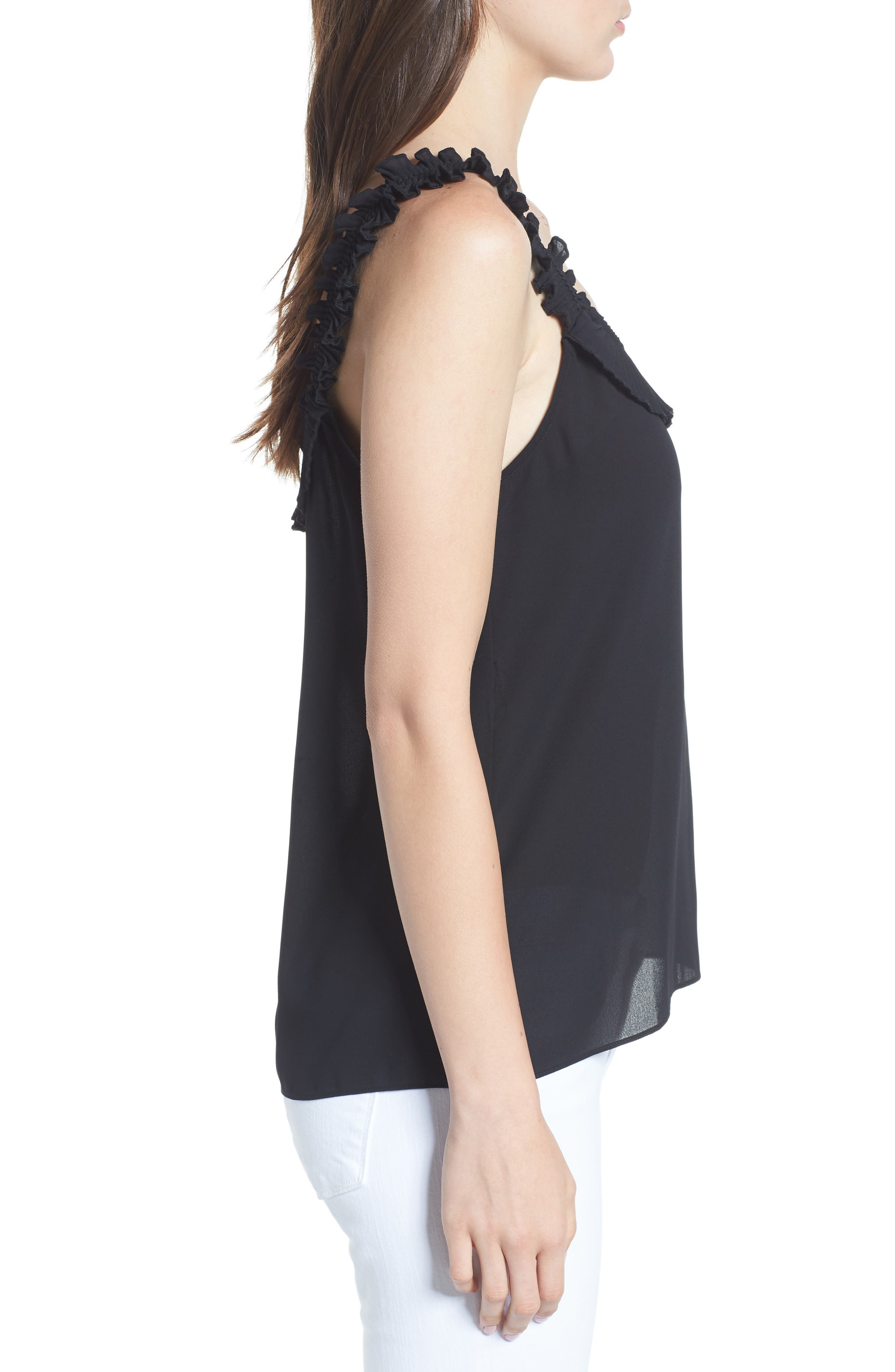 Ruffle Pleated Tank,                             Alternate thumbnail 3, color,                             Black