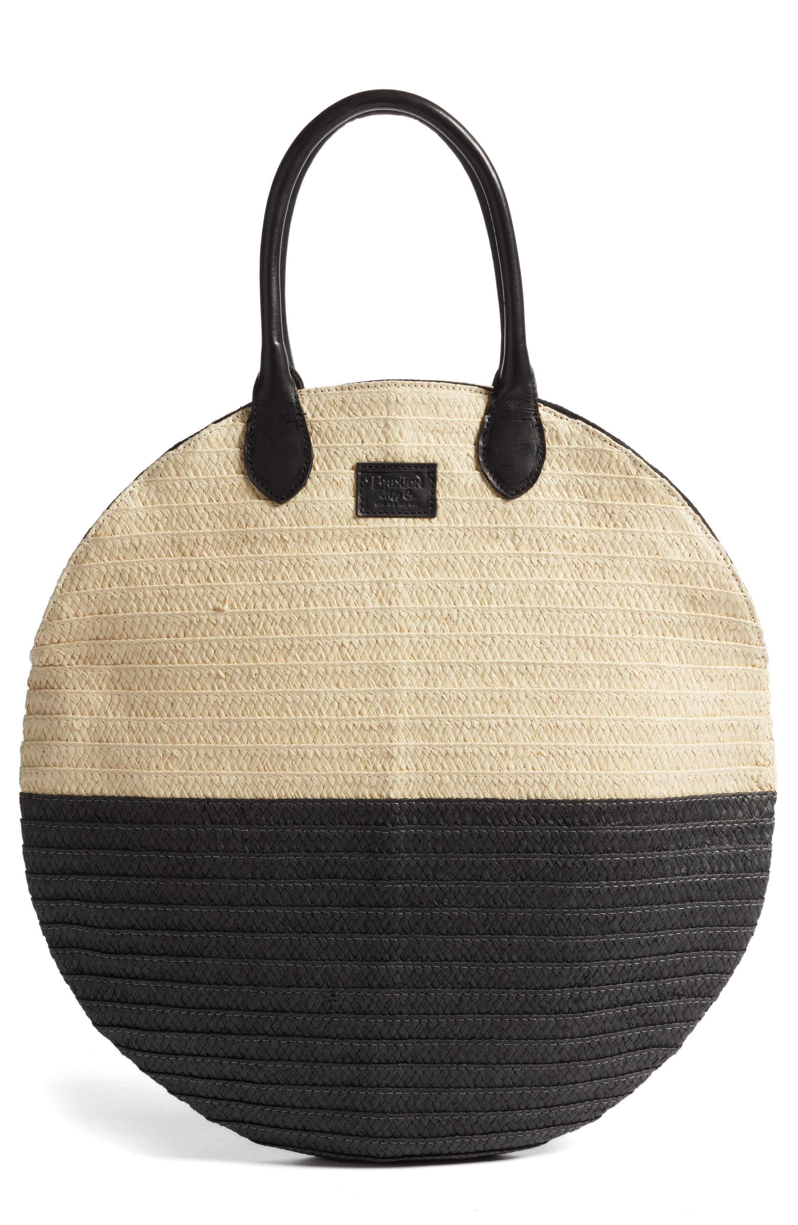 Amalie Straw Circle Tote,                             Main thumbnail 1, color,                             Natural/ Black