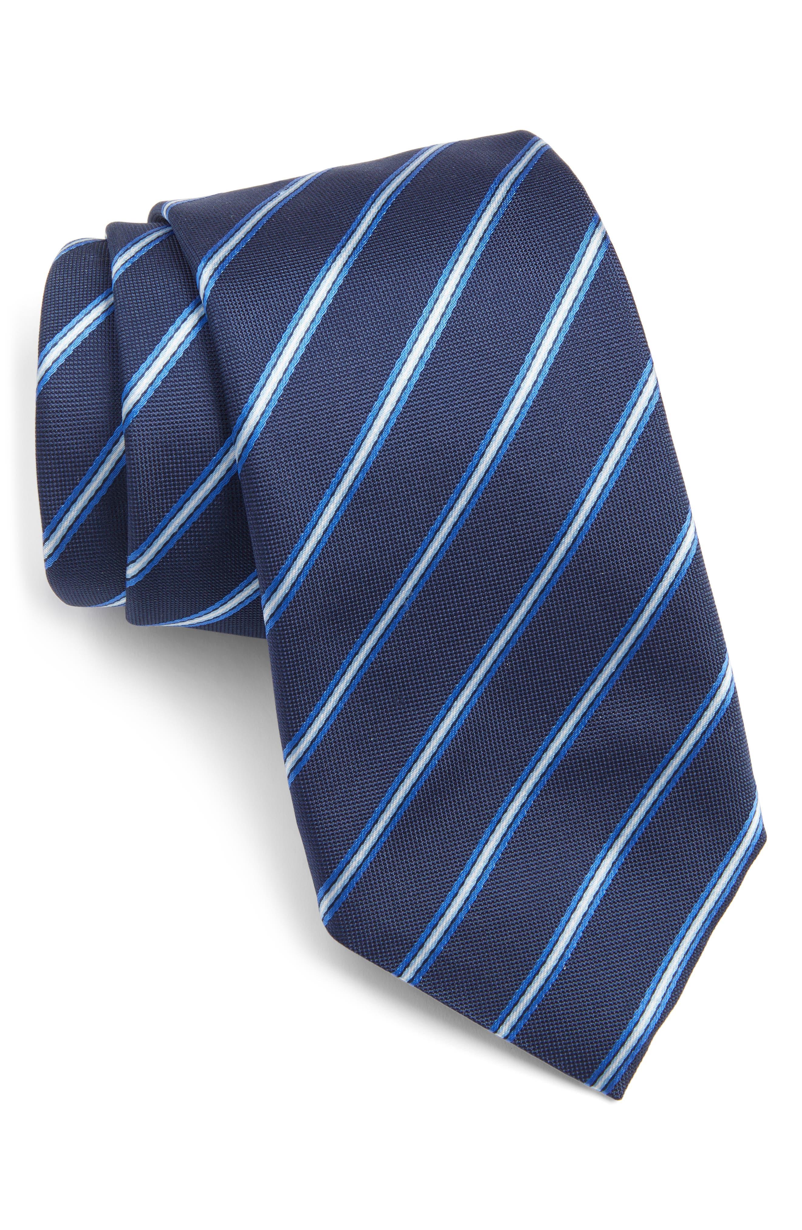 Stripe Silk Tie,                             Main thumbnail 1, color,                             Open Blue