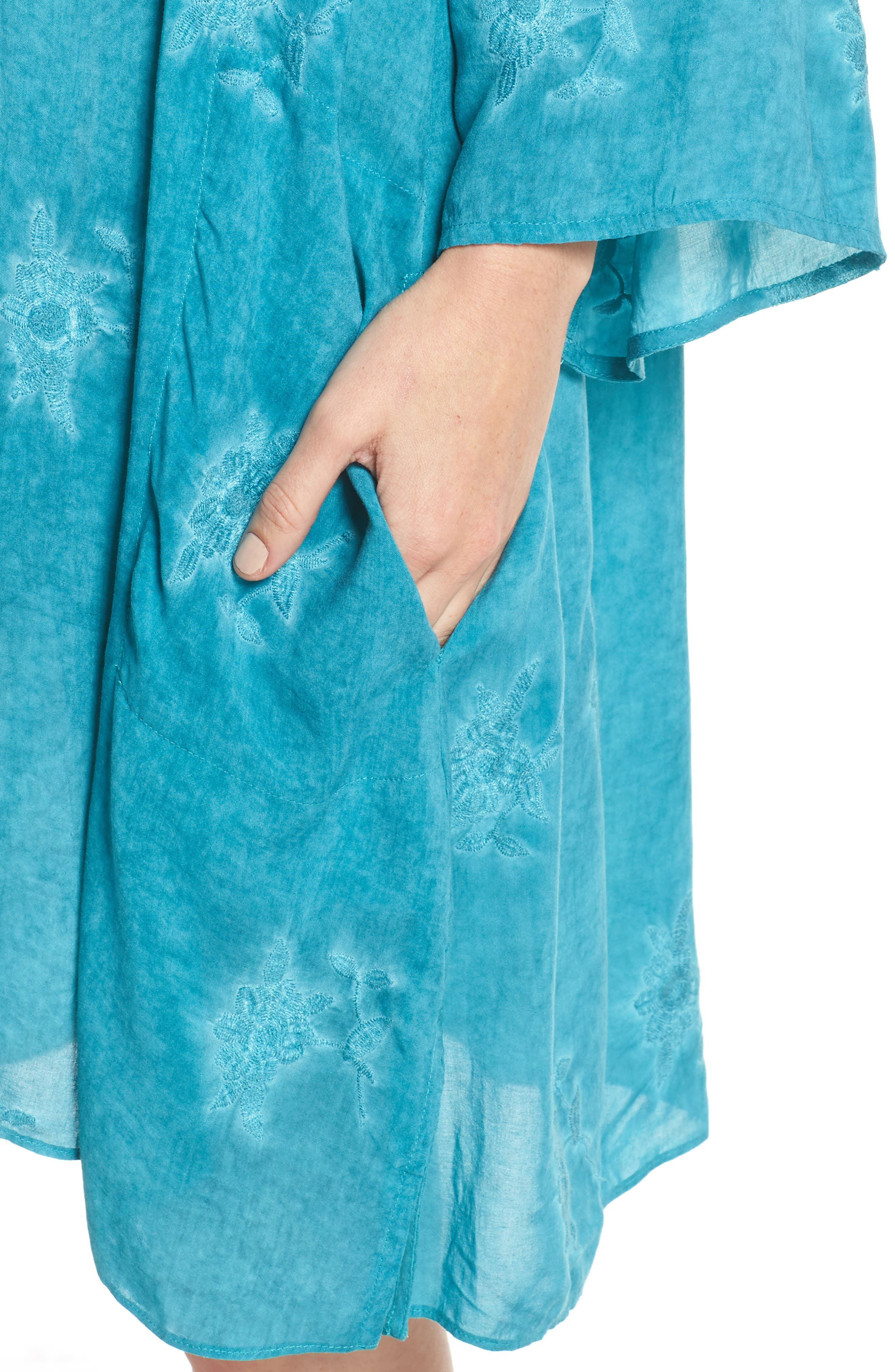 Jaipur Embroidered Voile Caftan,                             Alternate thumbnail 5, color,                             Turquoise