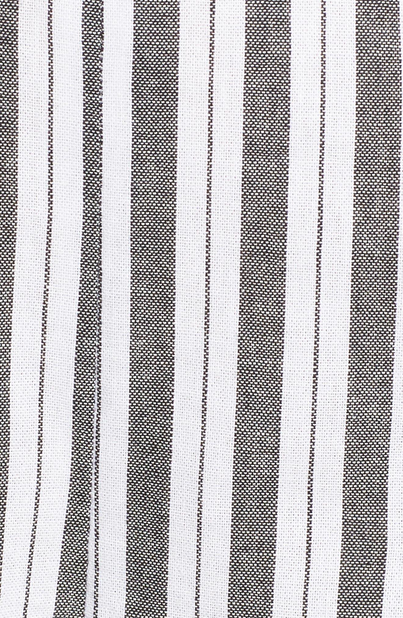 Acacia Stripe High Waist Shorts,                             Alternate thumbnail 6, color,                             Black W White