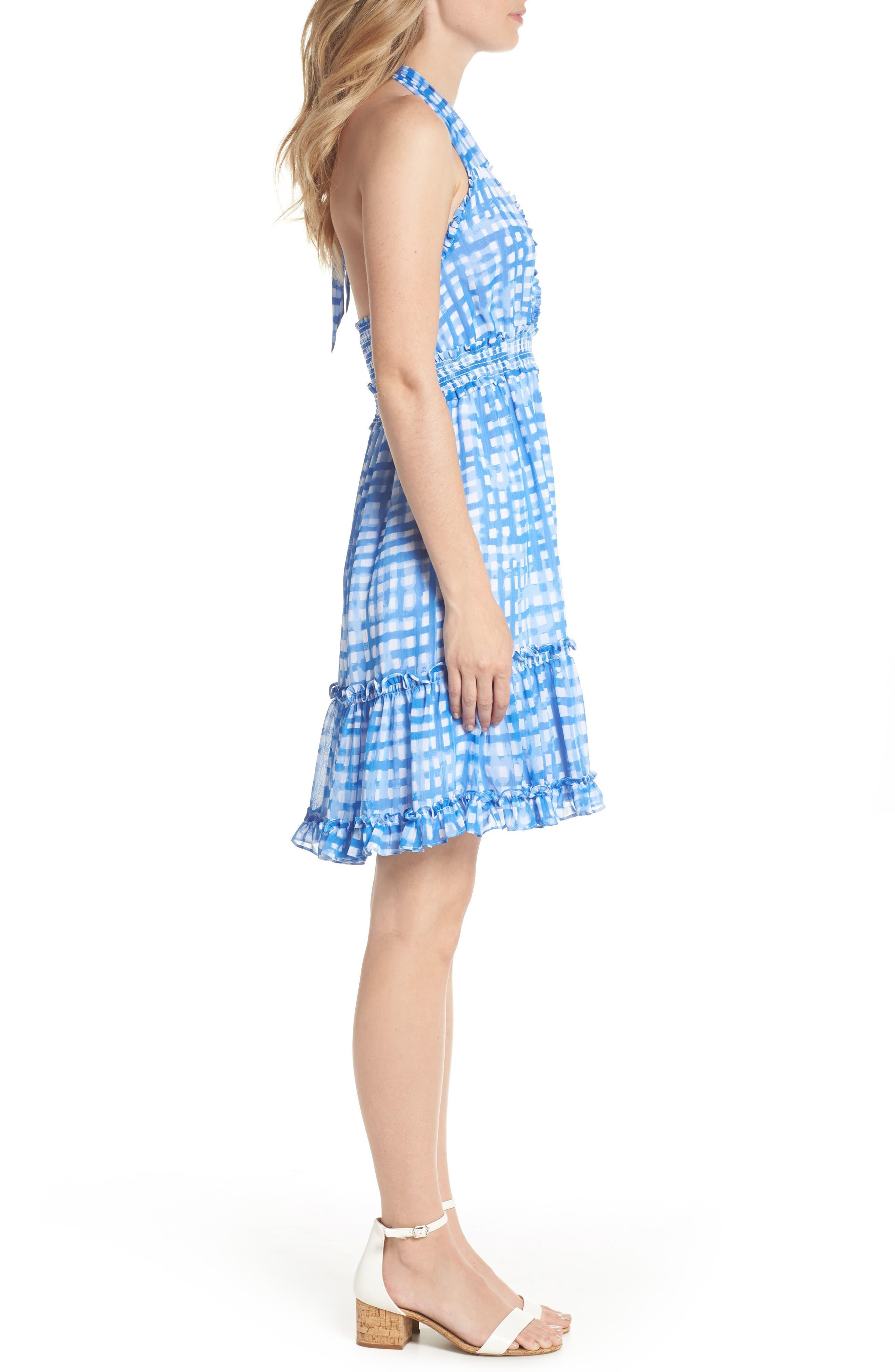 Cailee Halter Dress,                             Alternate thumbnail 3, color,                             Bennet Blue Feelin Beachy Gin