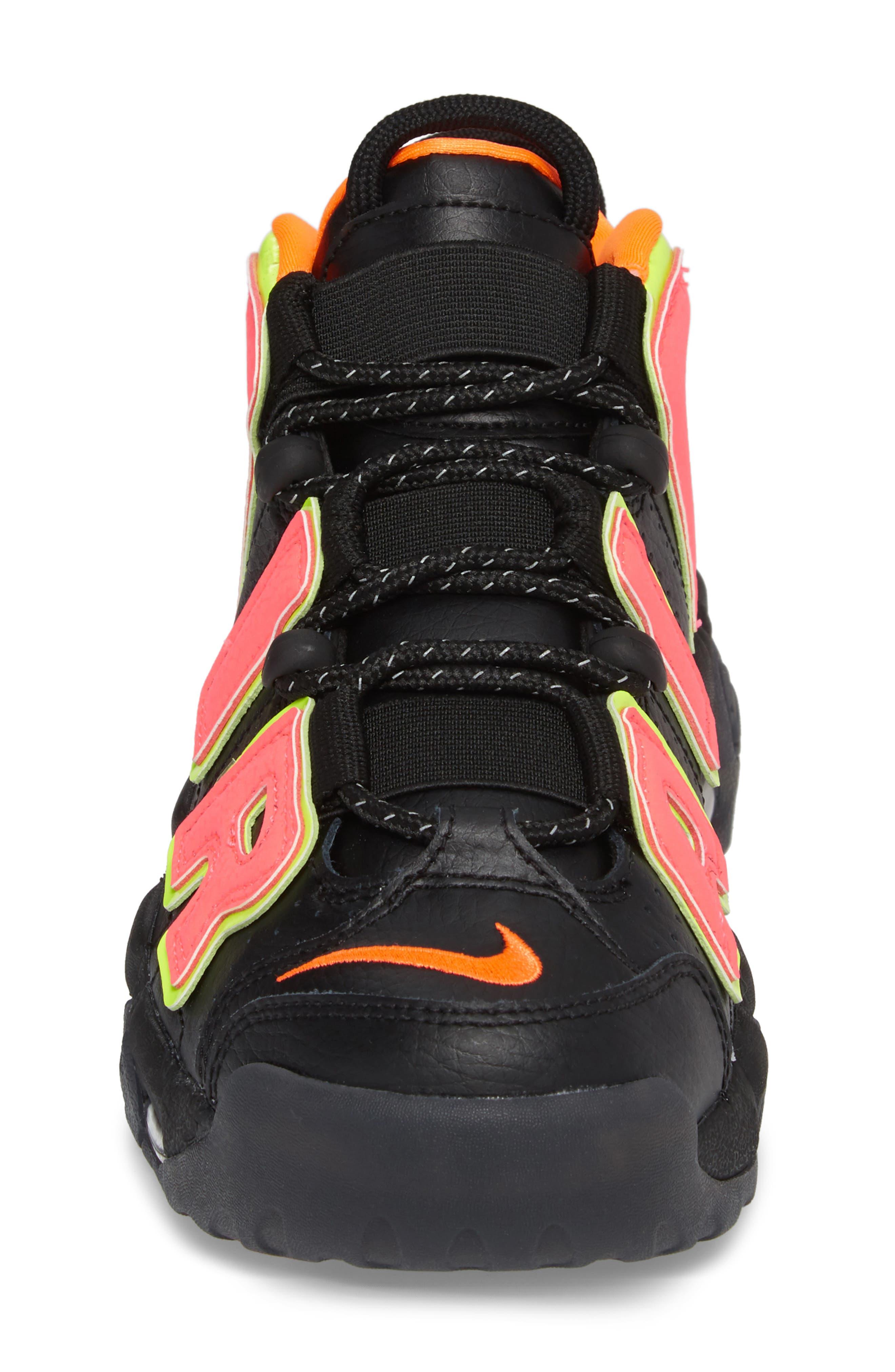 Air More Uptempo Sneaker,                             Alternate thumbnail 4, color,                             Black/ Punch/ Total Orange
