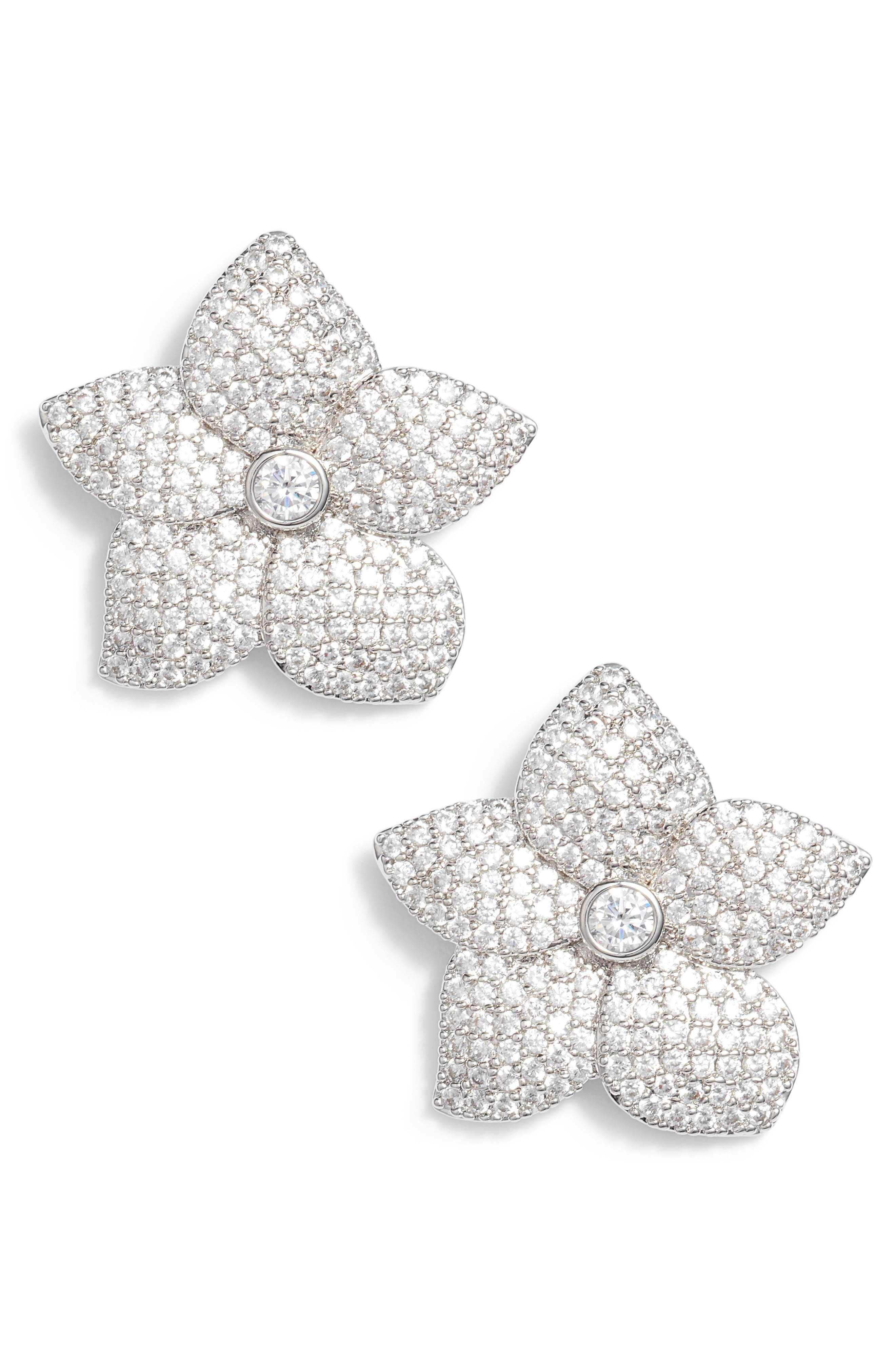 blooming pavé stud earrings,                         Main,                         color, Clear/ Silver
