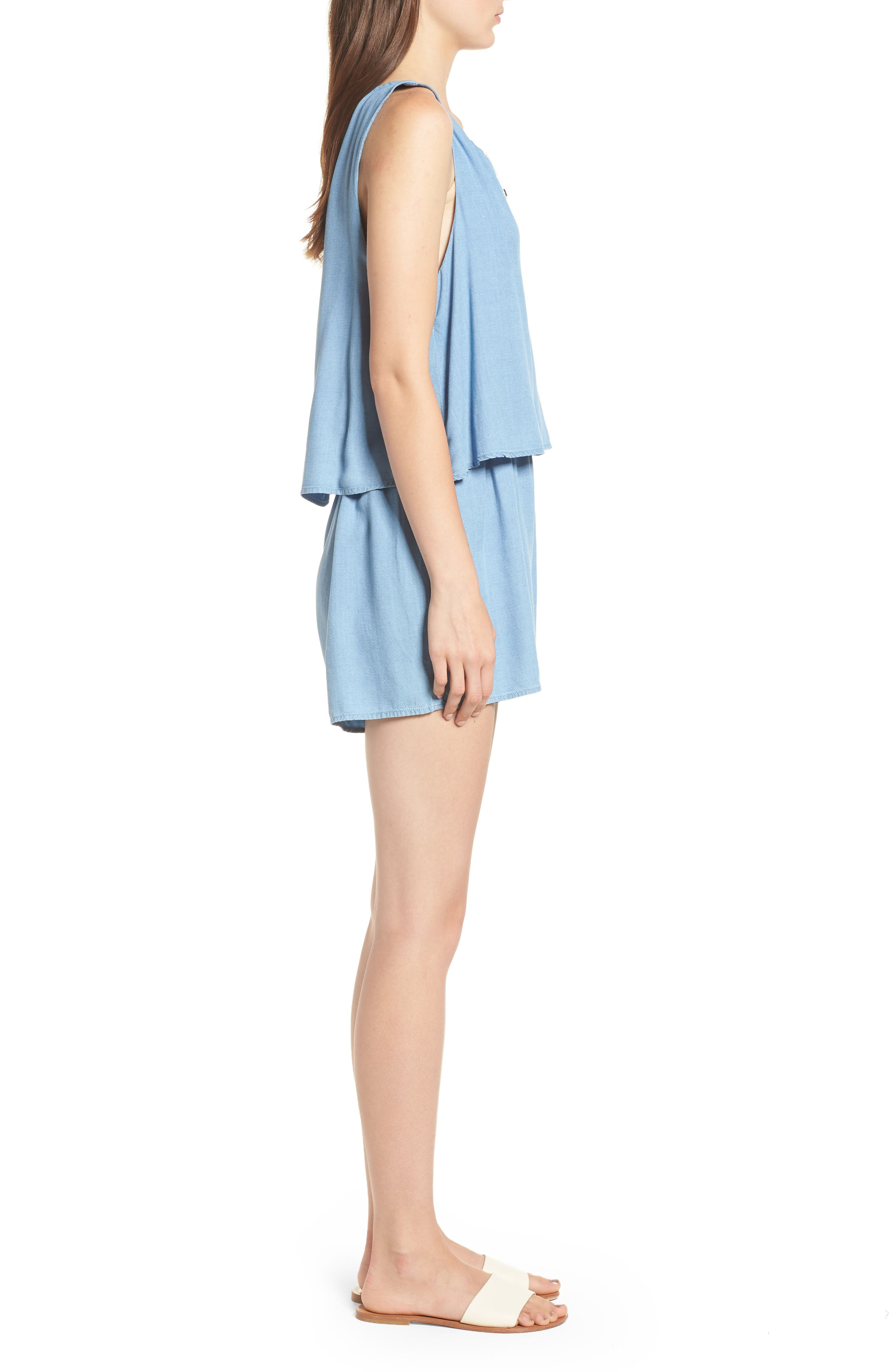 Chambray Romper,                             Alternate thumbnail 3, color,                             Light Wash