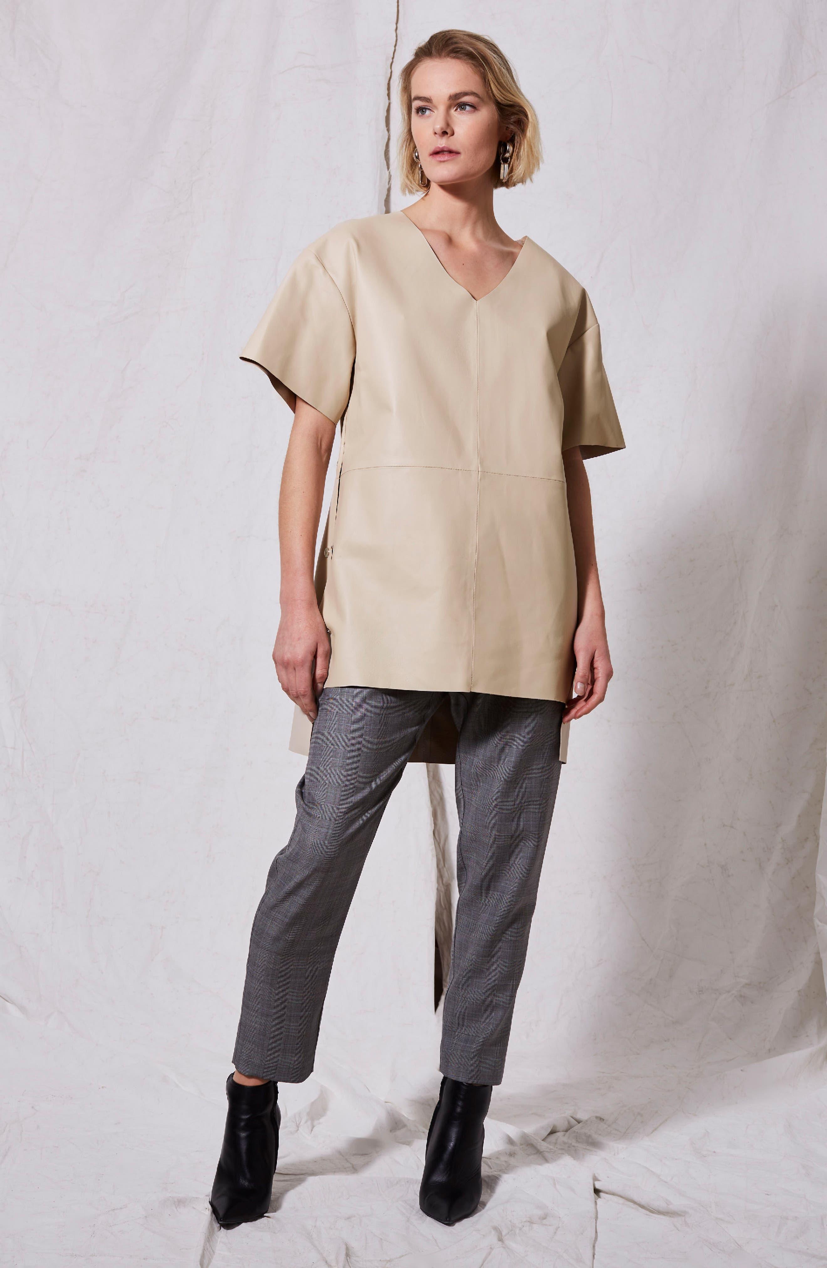 Leather V-Neck Dress,                             Alternate thumbnail 2, color,