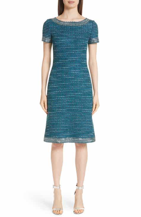 St. John Collection Sequin & Sheen Tweed Knit Dress