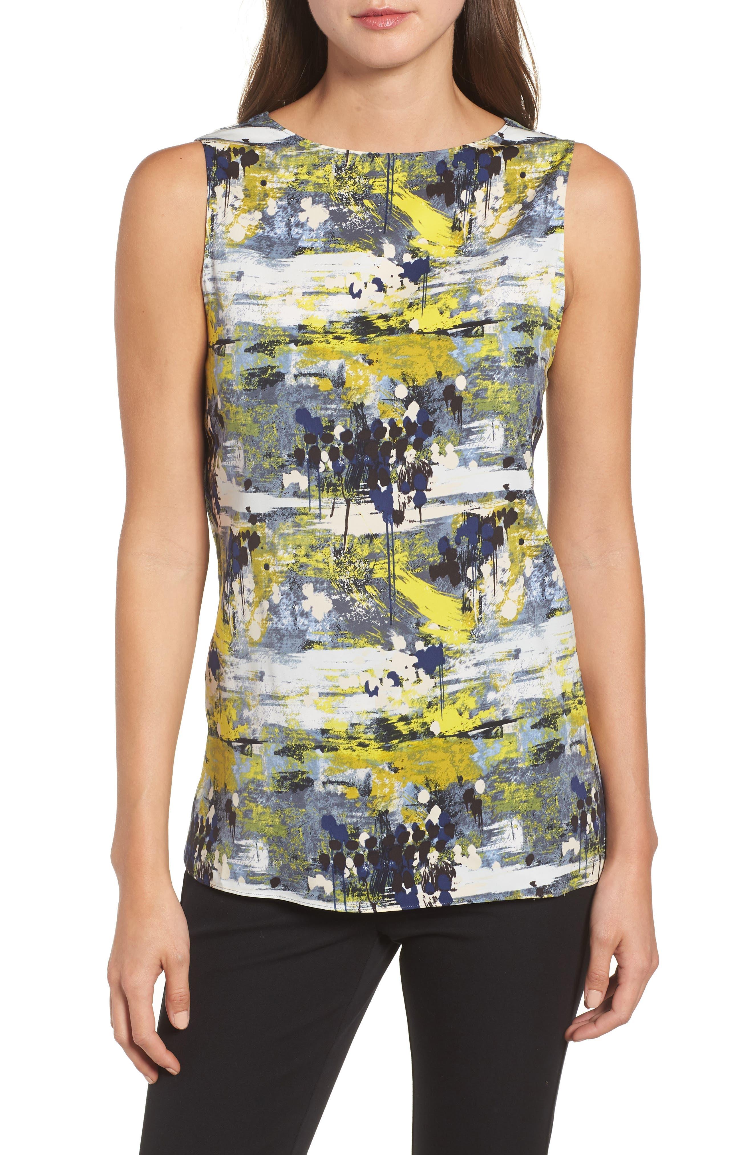 Drape Back Silk Blend Top,                         Main,                         color, Blue Dot Drip Print