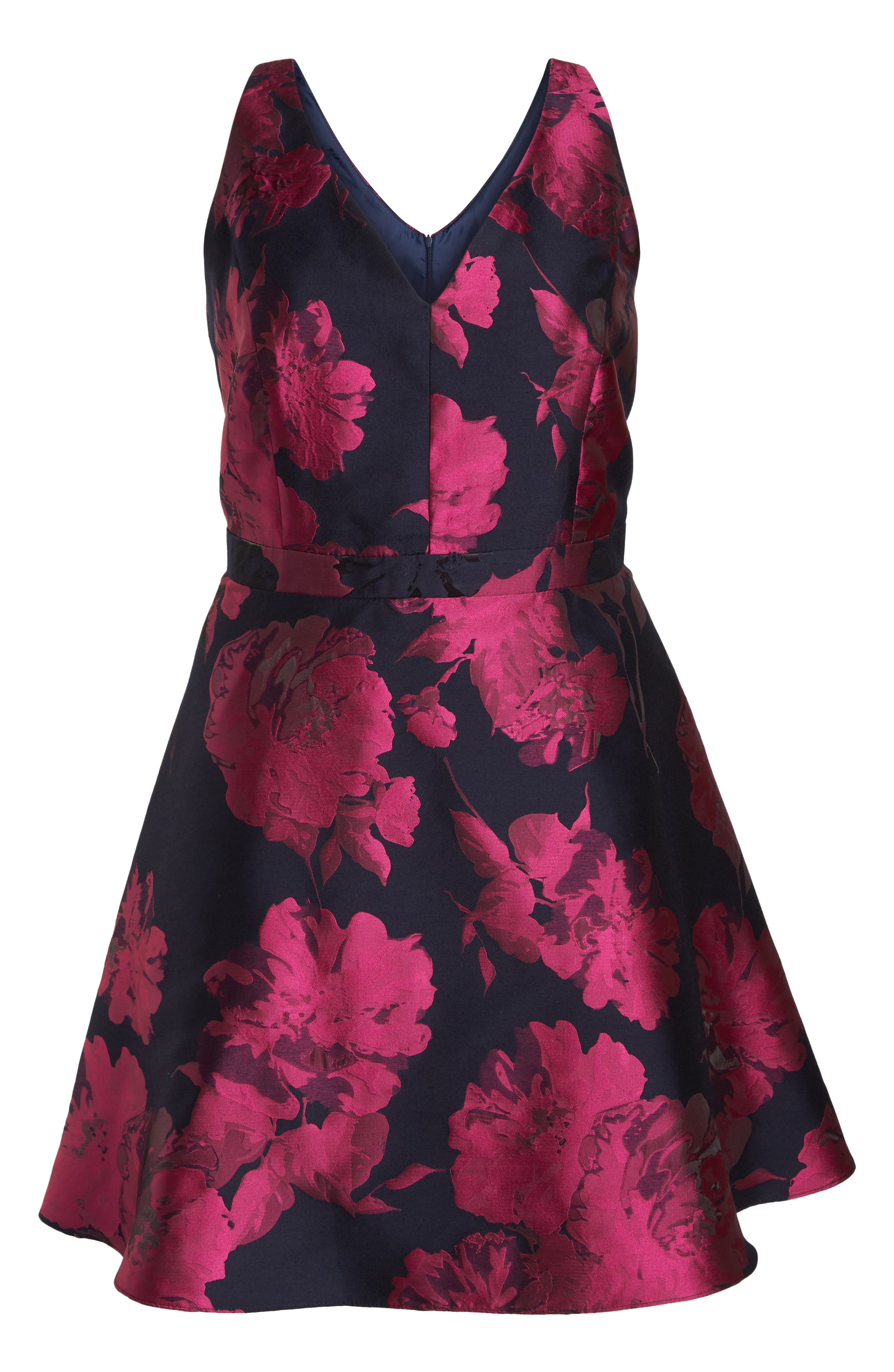 Floral Brocade Fit & Flare Dress,                             Alternate thumbnail 6, color,                             Navy/ Fuchsia