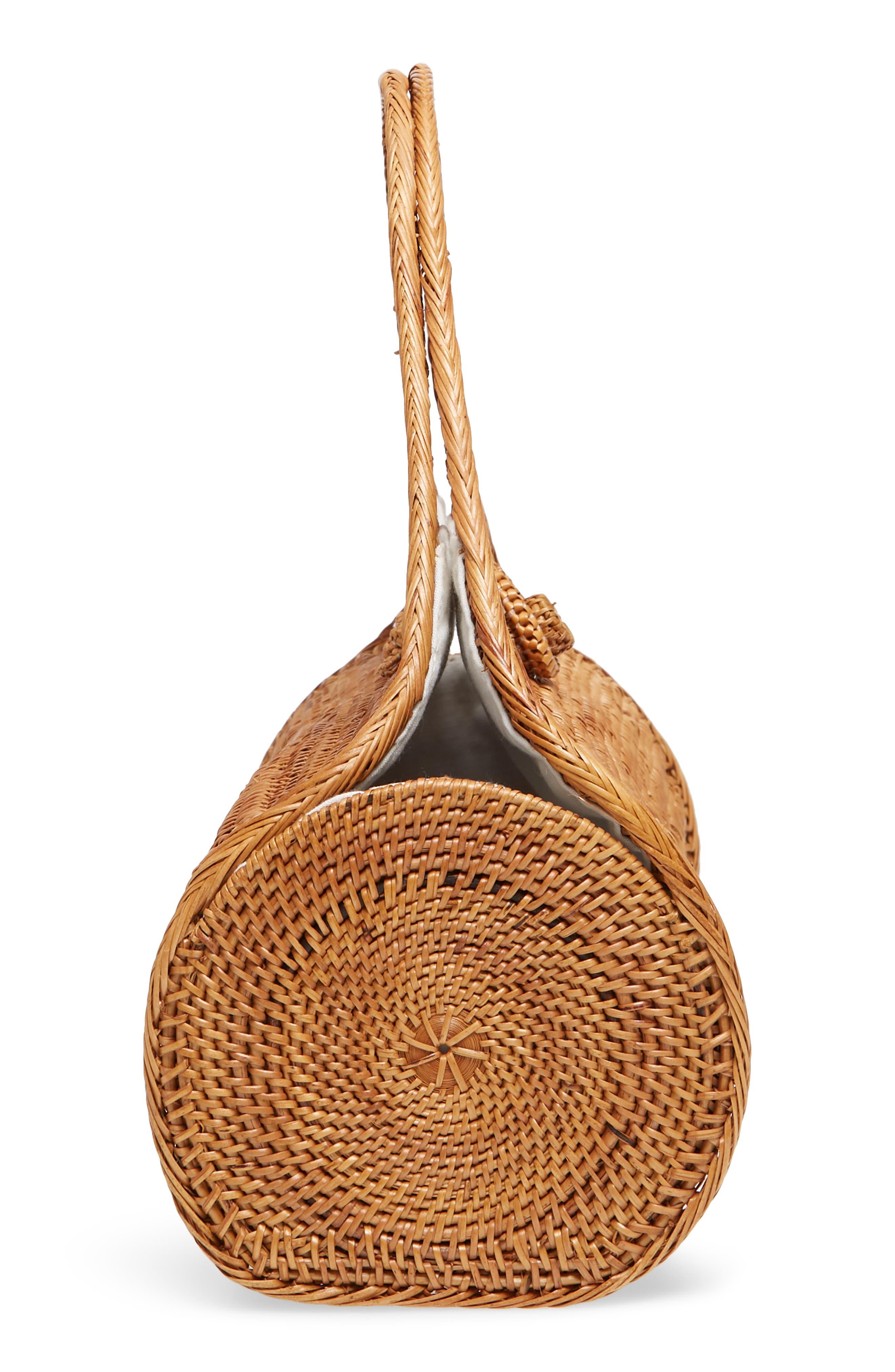 Woven Rattan Handbag,                             Alternate thumbnail 5, color,                             Tan