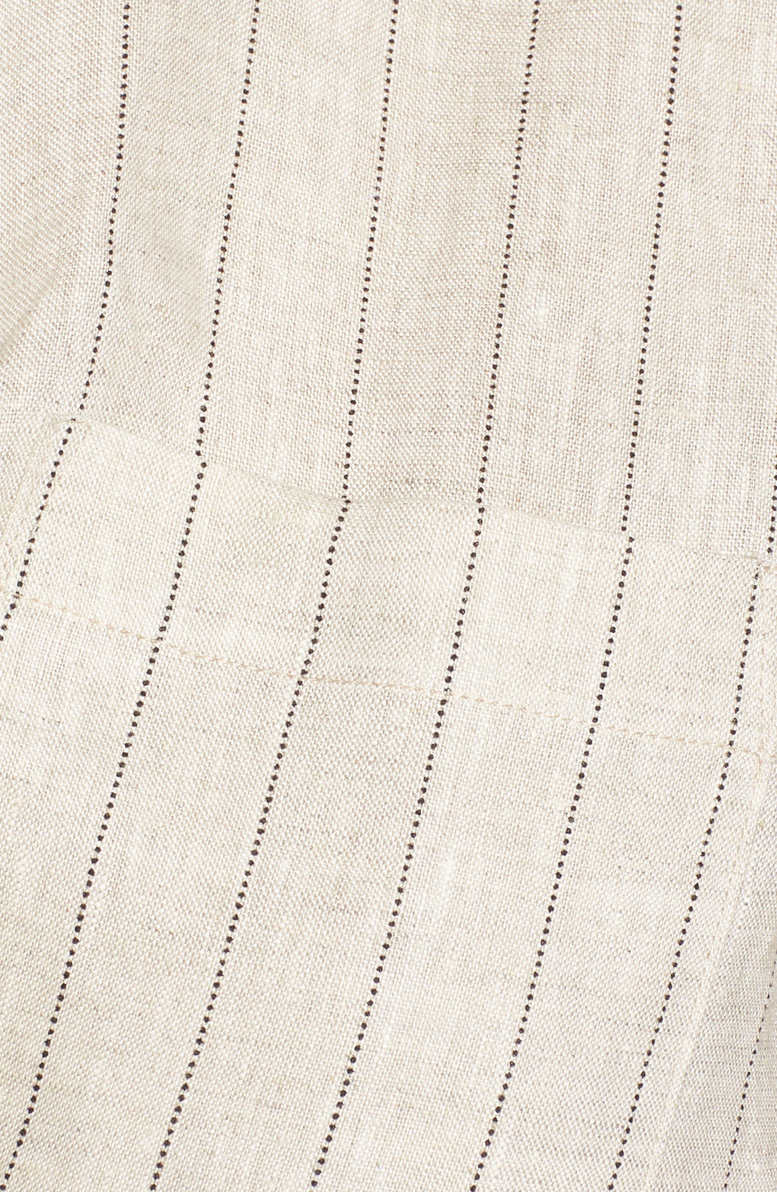 Linen Twist Hem Crop Top,                             Alternate thumbnail 7, color,                             Beige Stripe