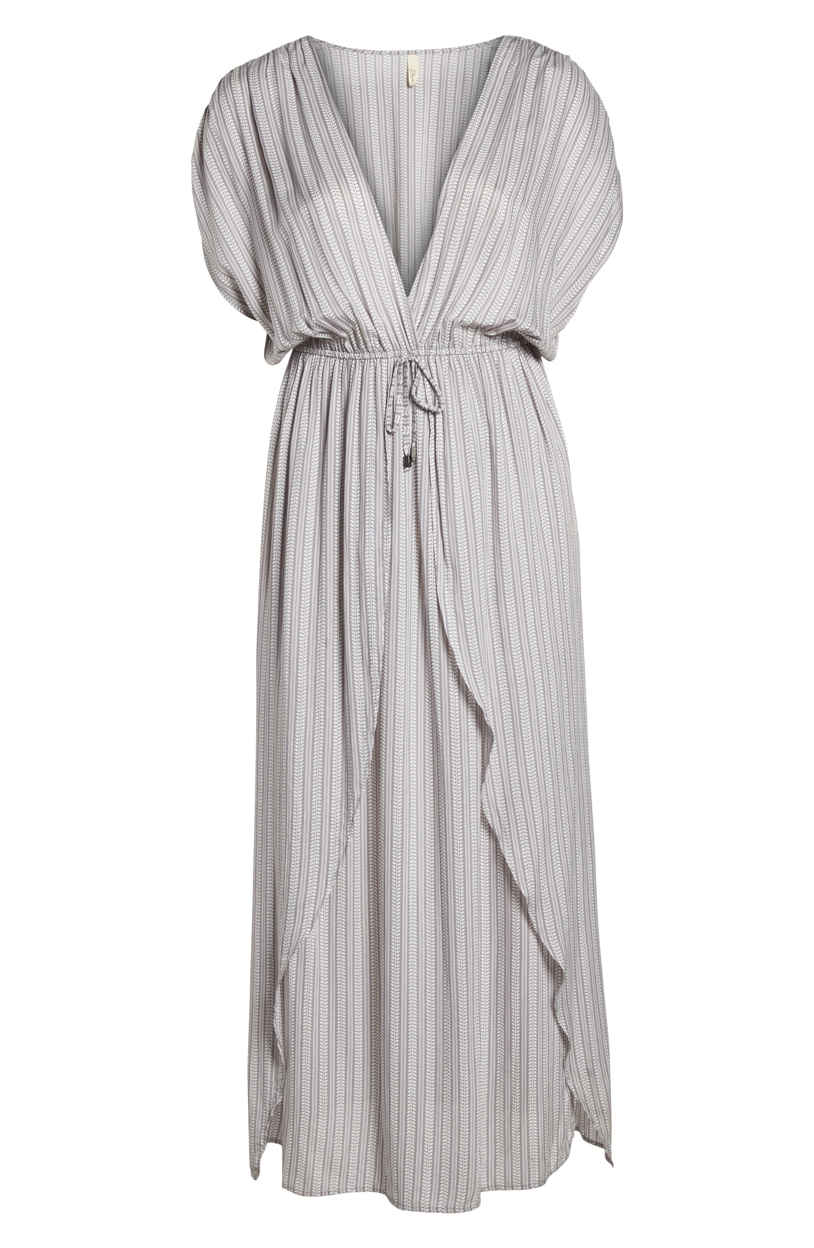 Wrap Maxi Cover-Up Dress,                             Alternate thumbnail 6, color,                             Makoto Grey