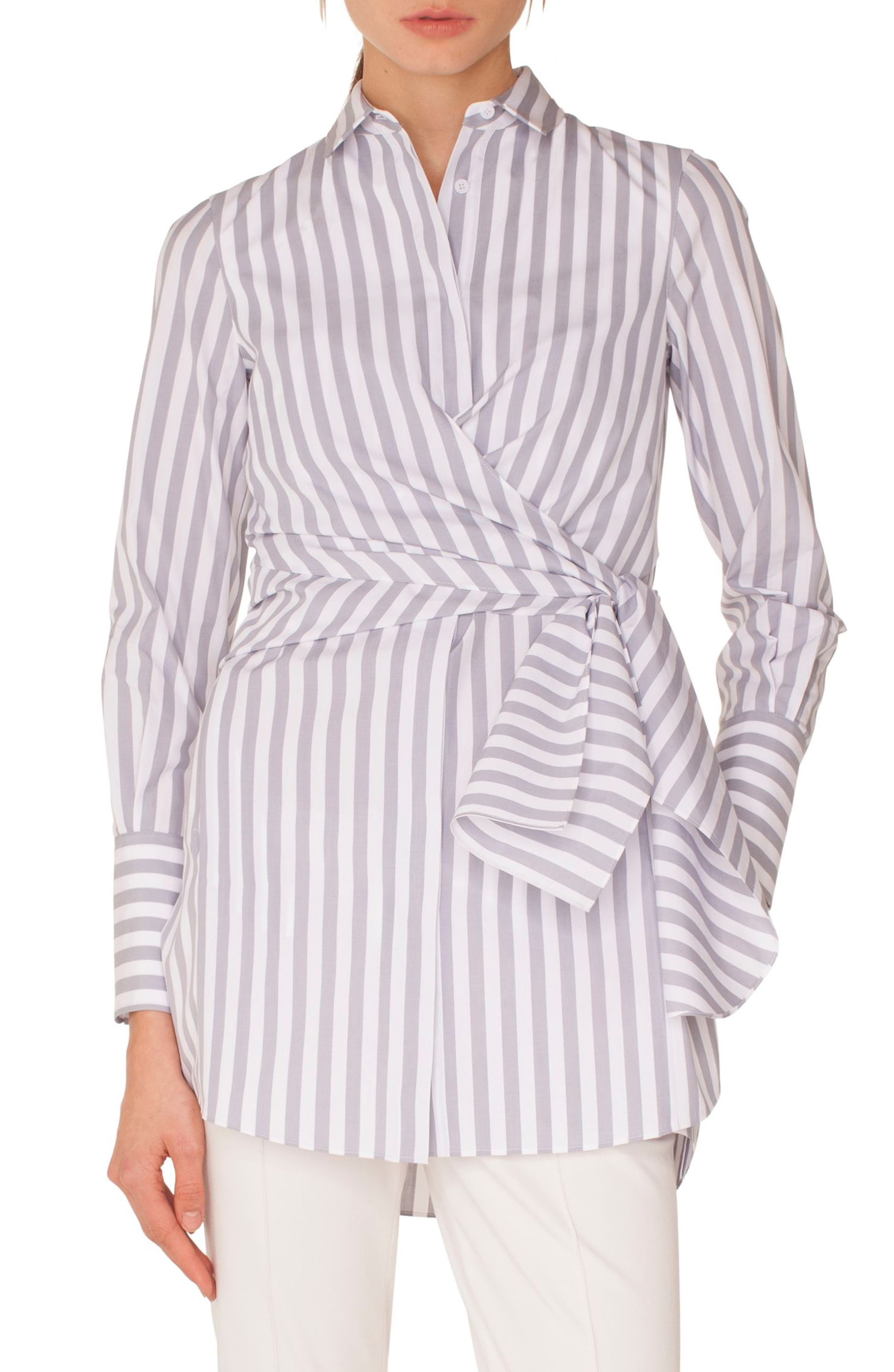 Akris punto Stripe Cotton Wrap Tunic