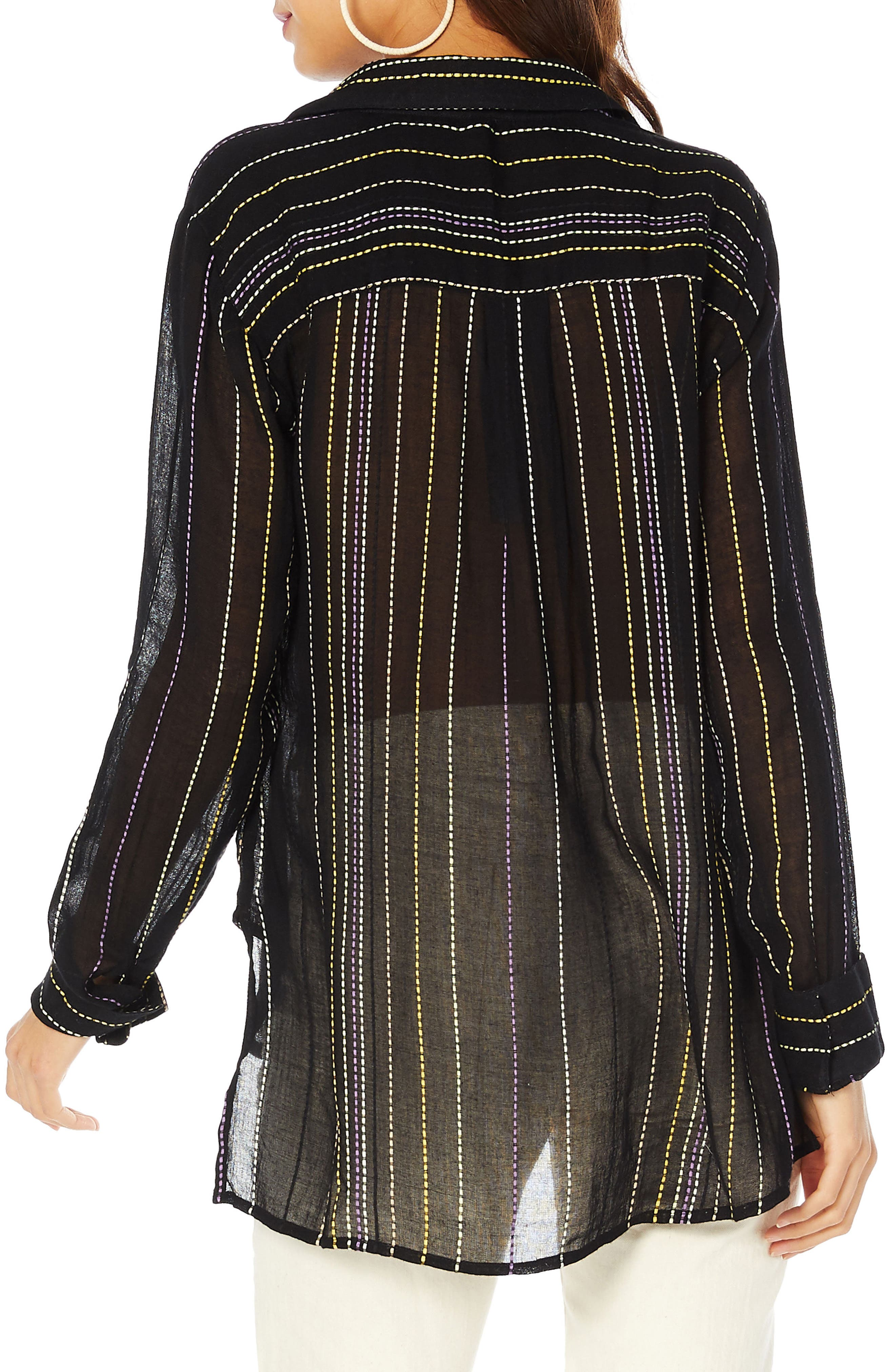 Beach Stripe Boyfriend Shirt,                             Alternate thumbnail 2, color,                             Black