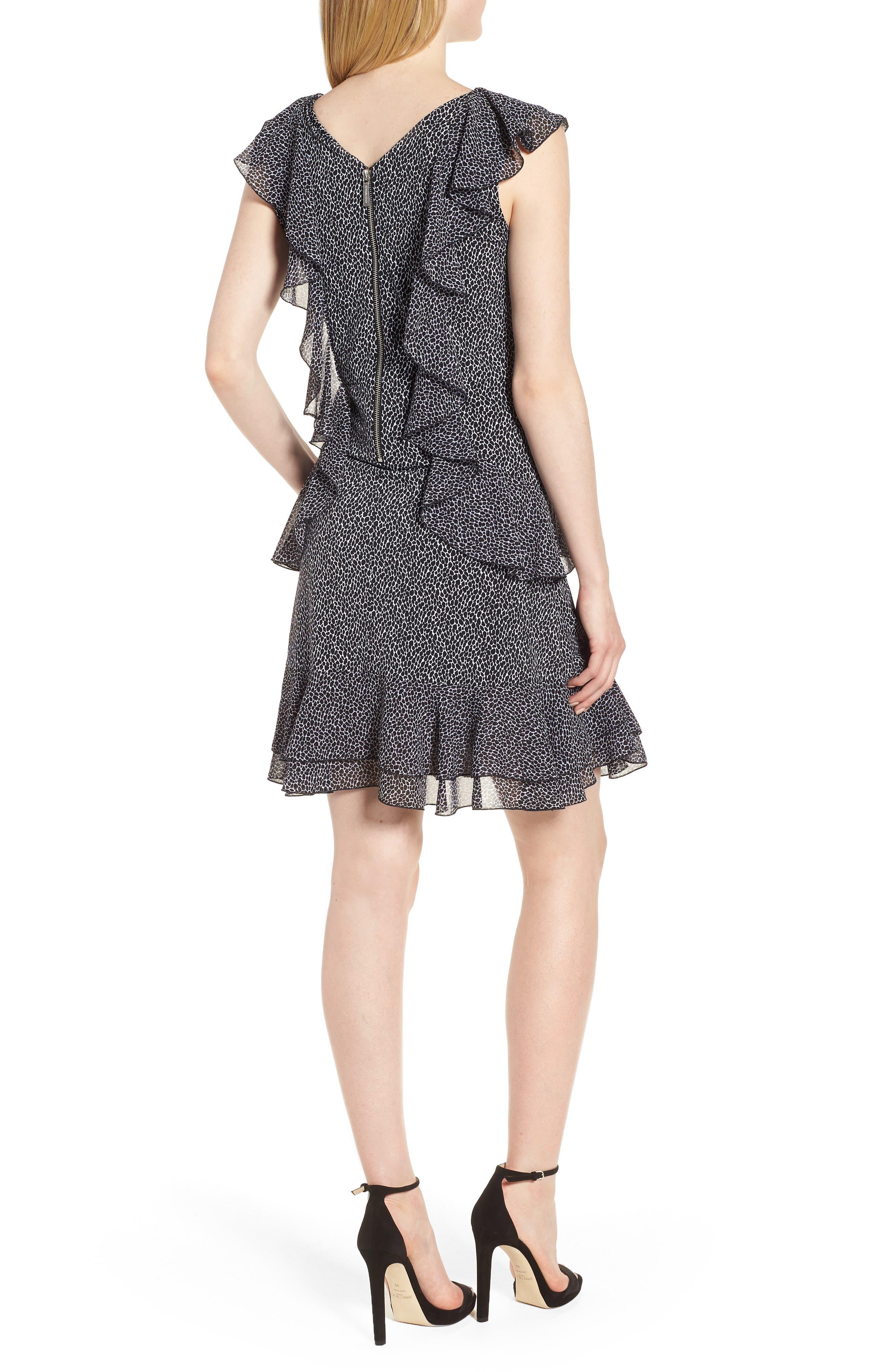 Leopard Cascade Mini Dress,                             Alternate thumbnail 2, color,                             White/ Black