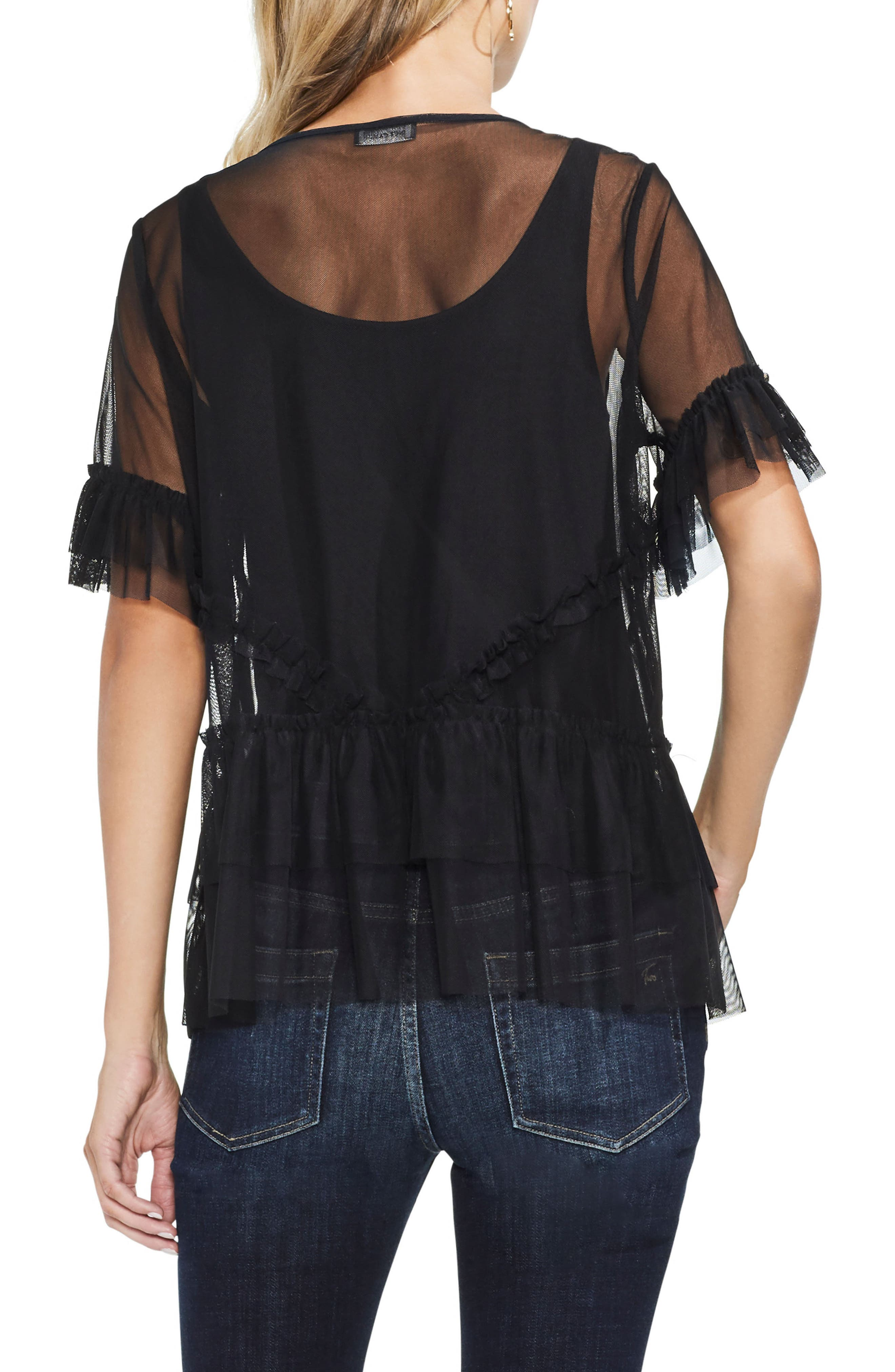 Tiered Ruffle Mesh Blouse,                             Alternate thumbnail 2, color,                             Rich Black