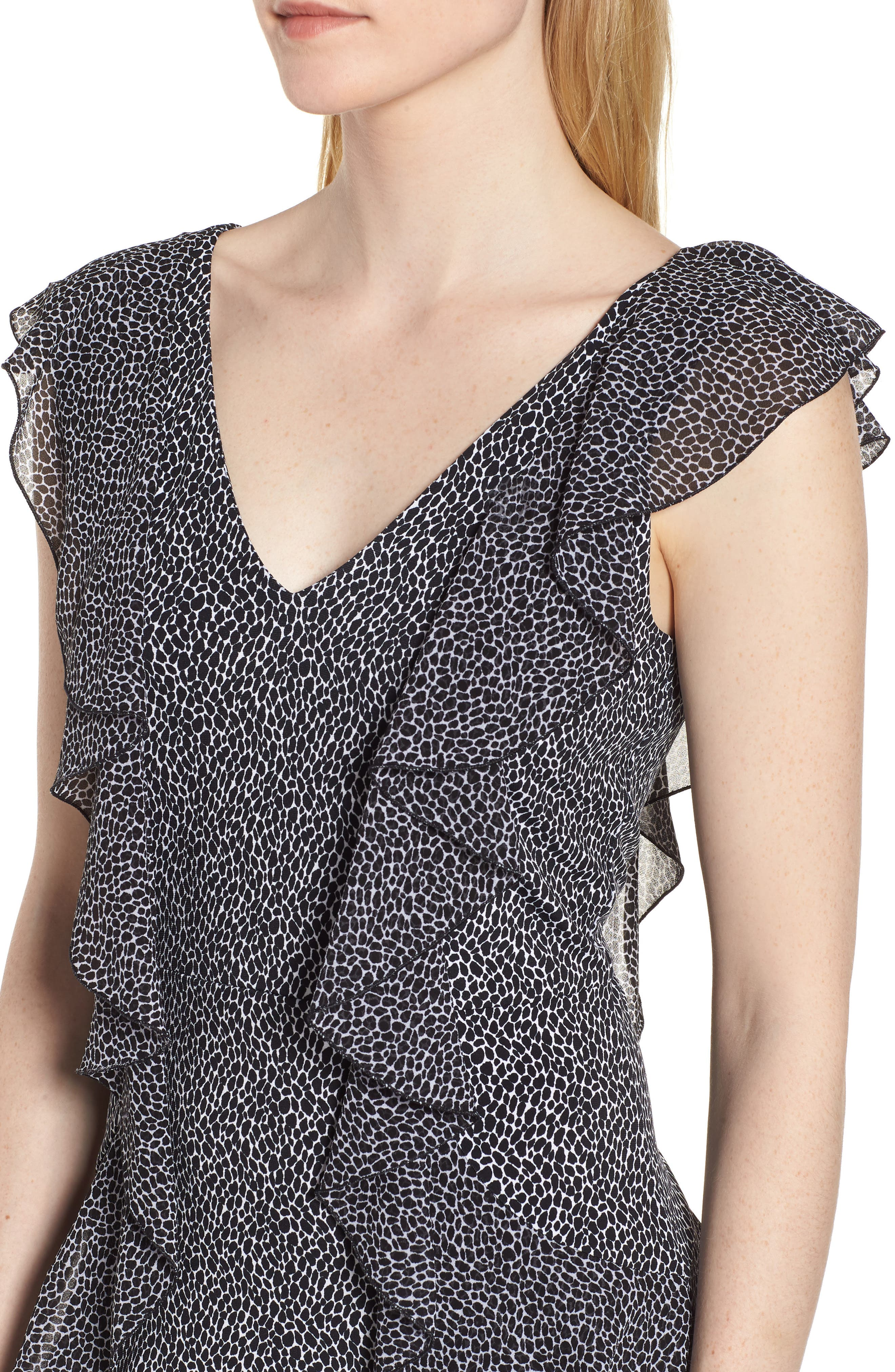 Leopard Cascade Mini Dress,                             Alternate thumbnail 4, color,                             White/ Black