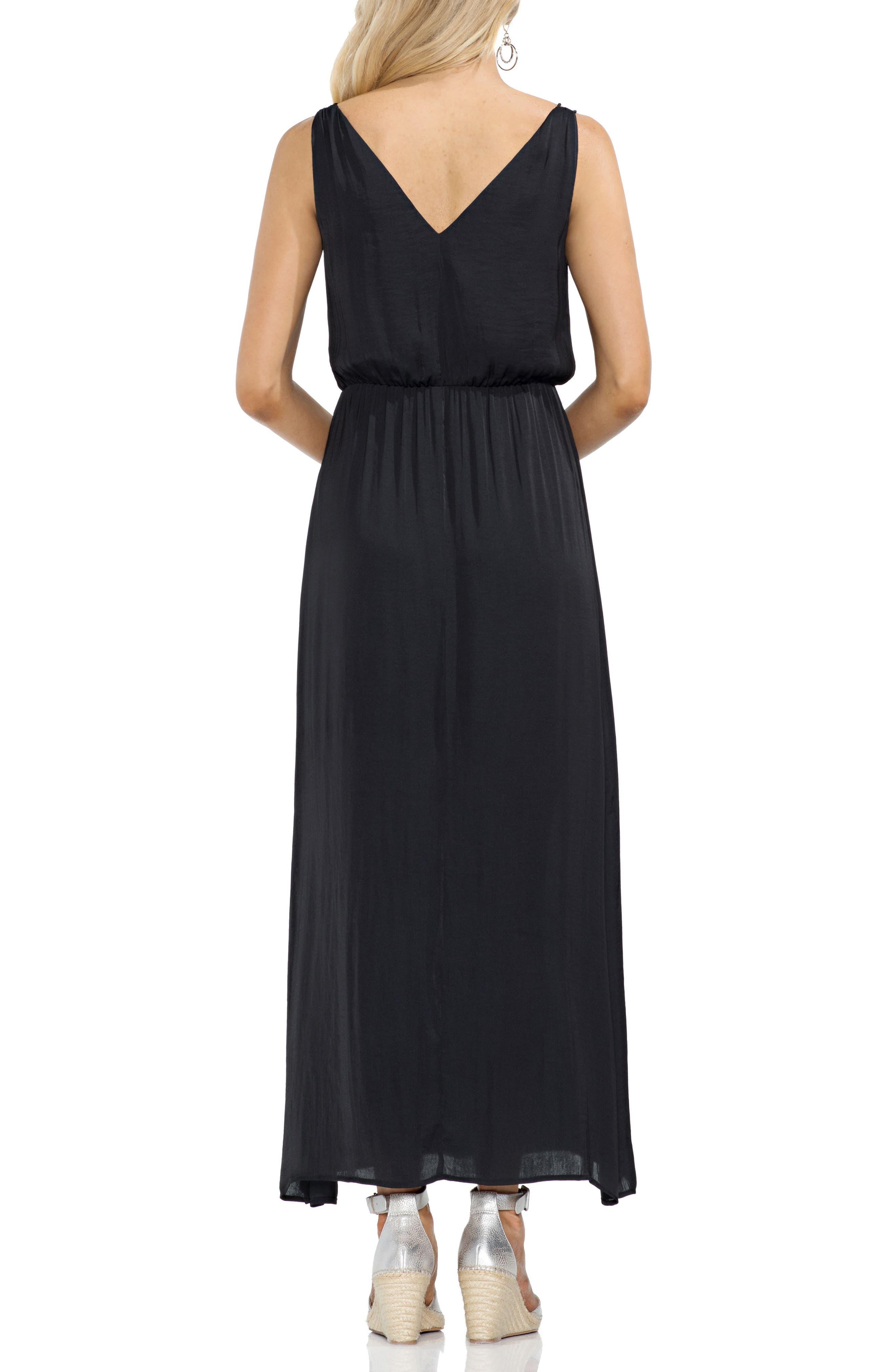 Rumple Satin Blouson Midi Dress,                             Alternate thumbnail 2, color,                             Rich Black