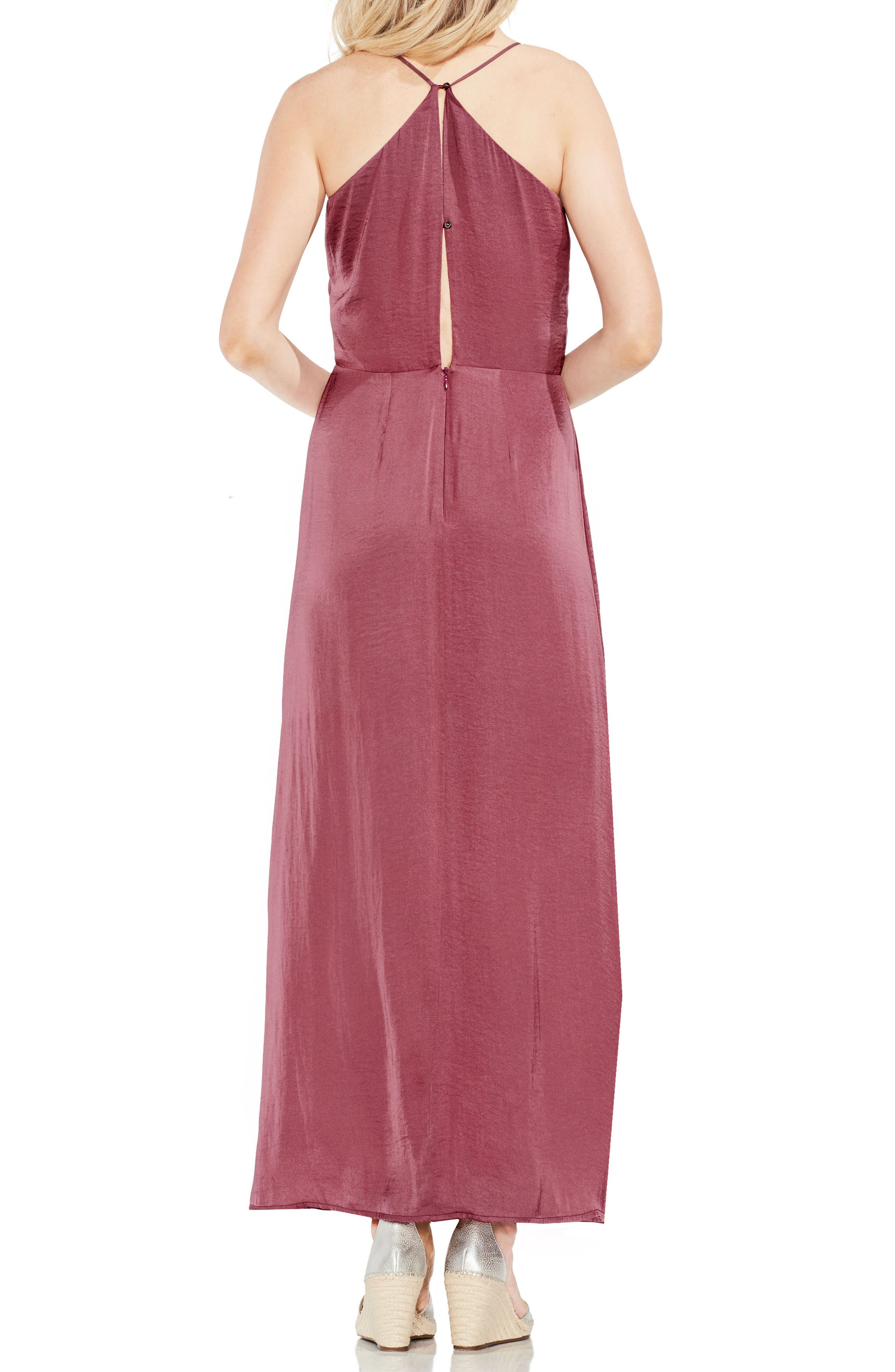 Hammered Satin Wrap Front Maxi Dress,                             Alternate thumbnail 2, color,                             Summer Rose