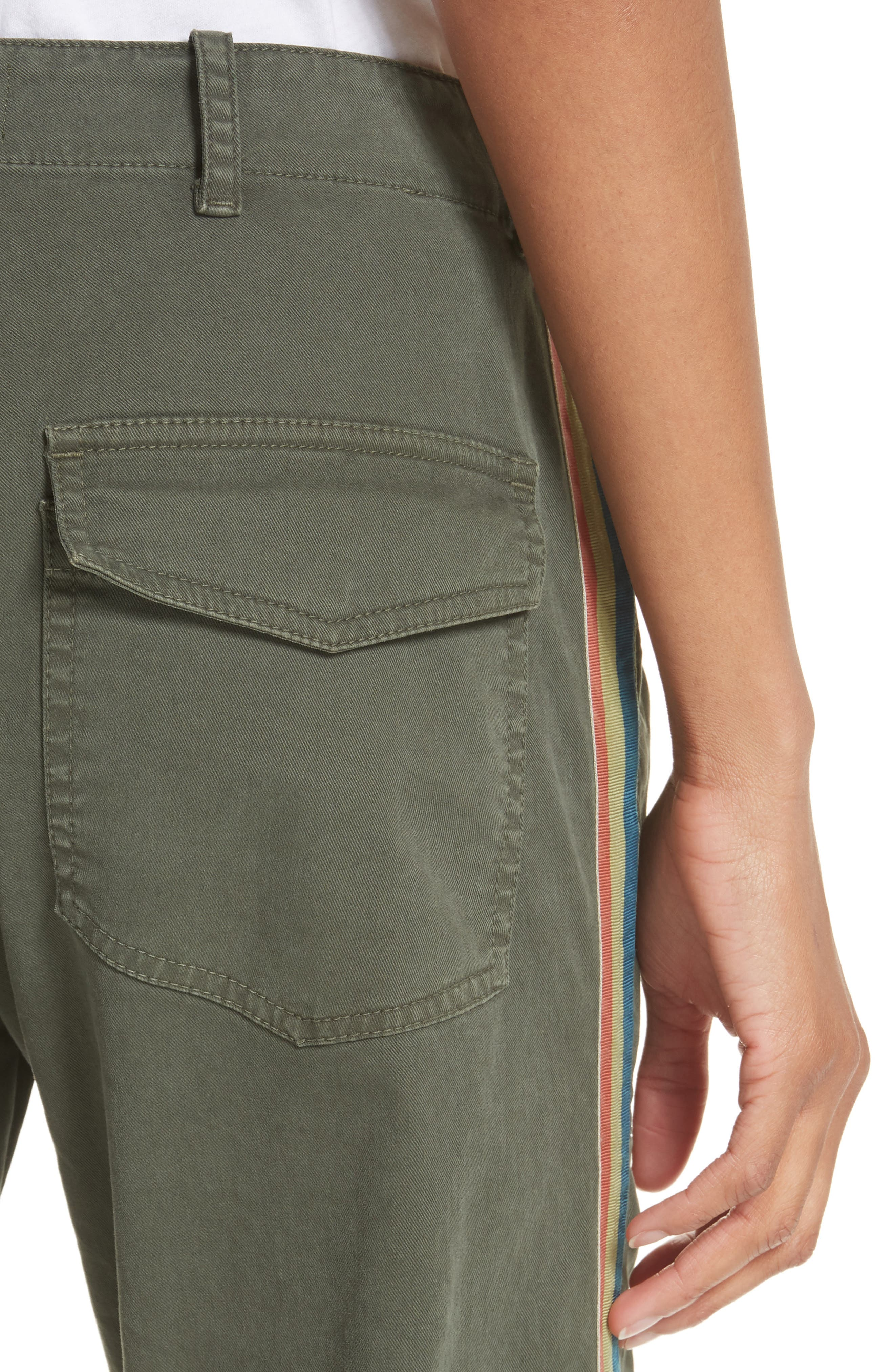 French Crop Military Pants,                             Alternate thumbnail 5, color,                             Loden