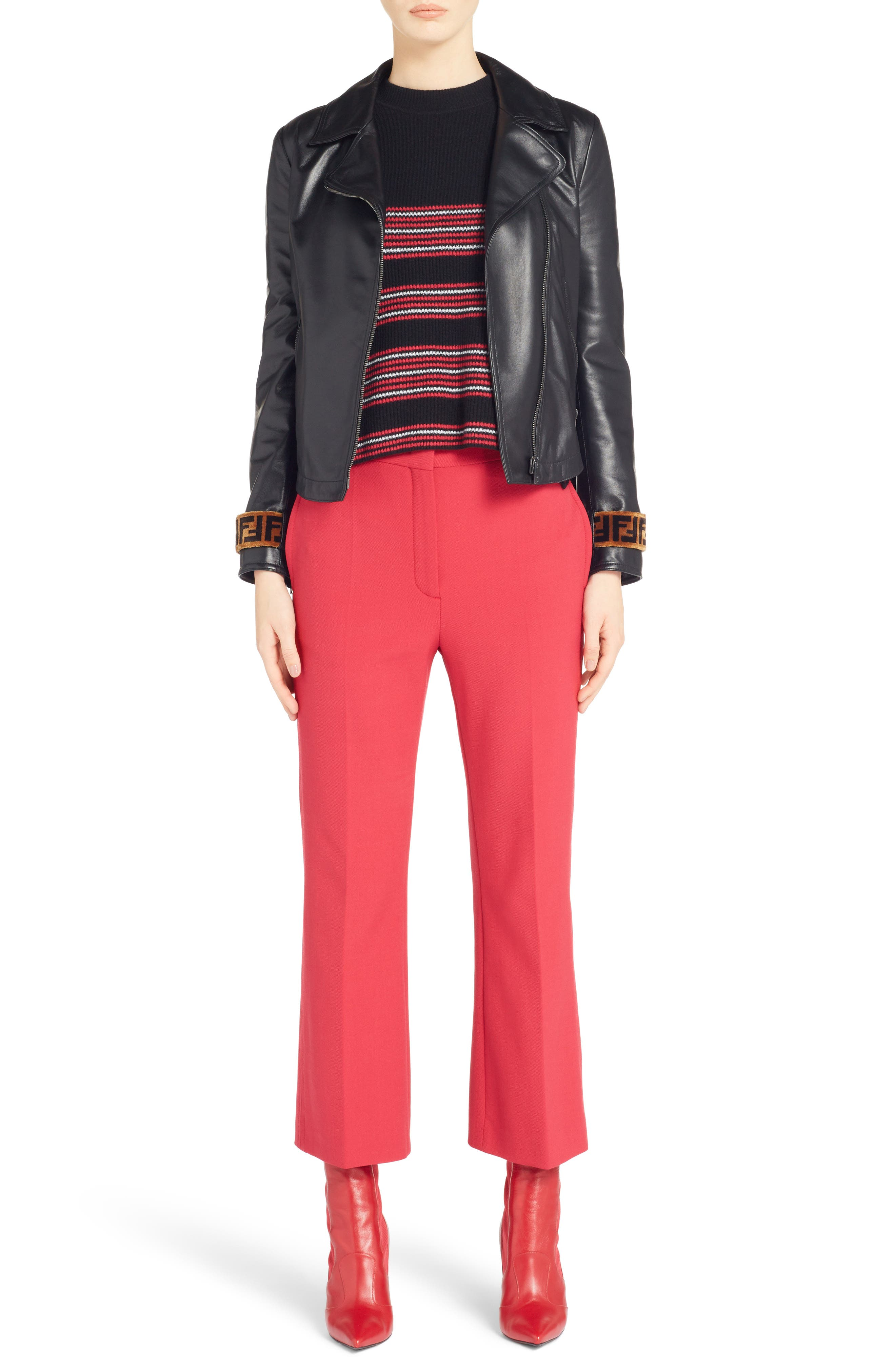 Stretch Drill Crop Flare Pants,                             Alternate thumbnail 10, color,                             Red
