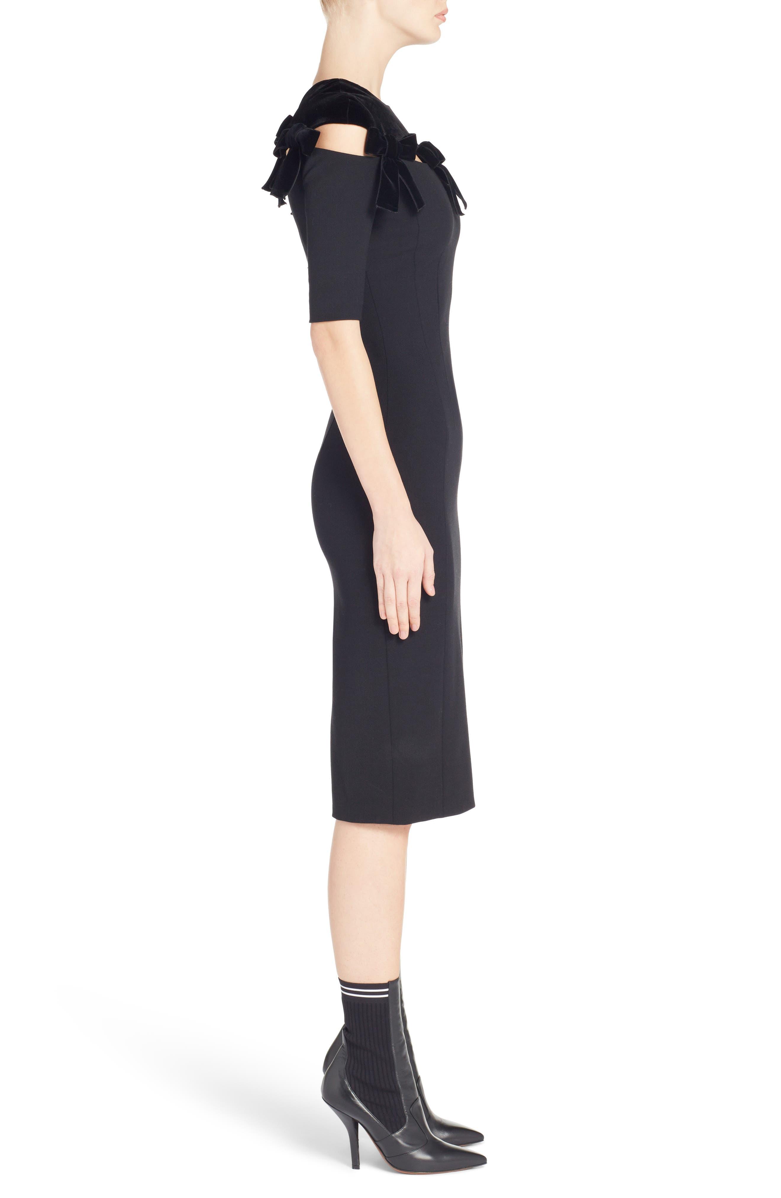 Velvet Bow Detail Stretch Dress,                             Alternate thumbnail 3, color,                             Black