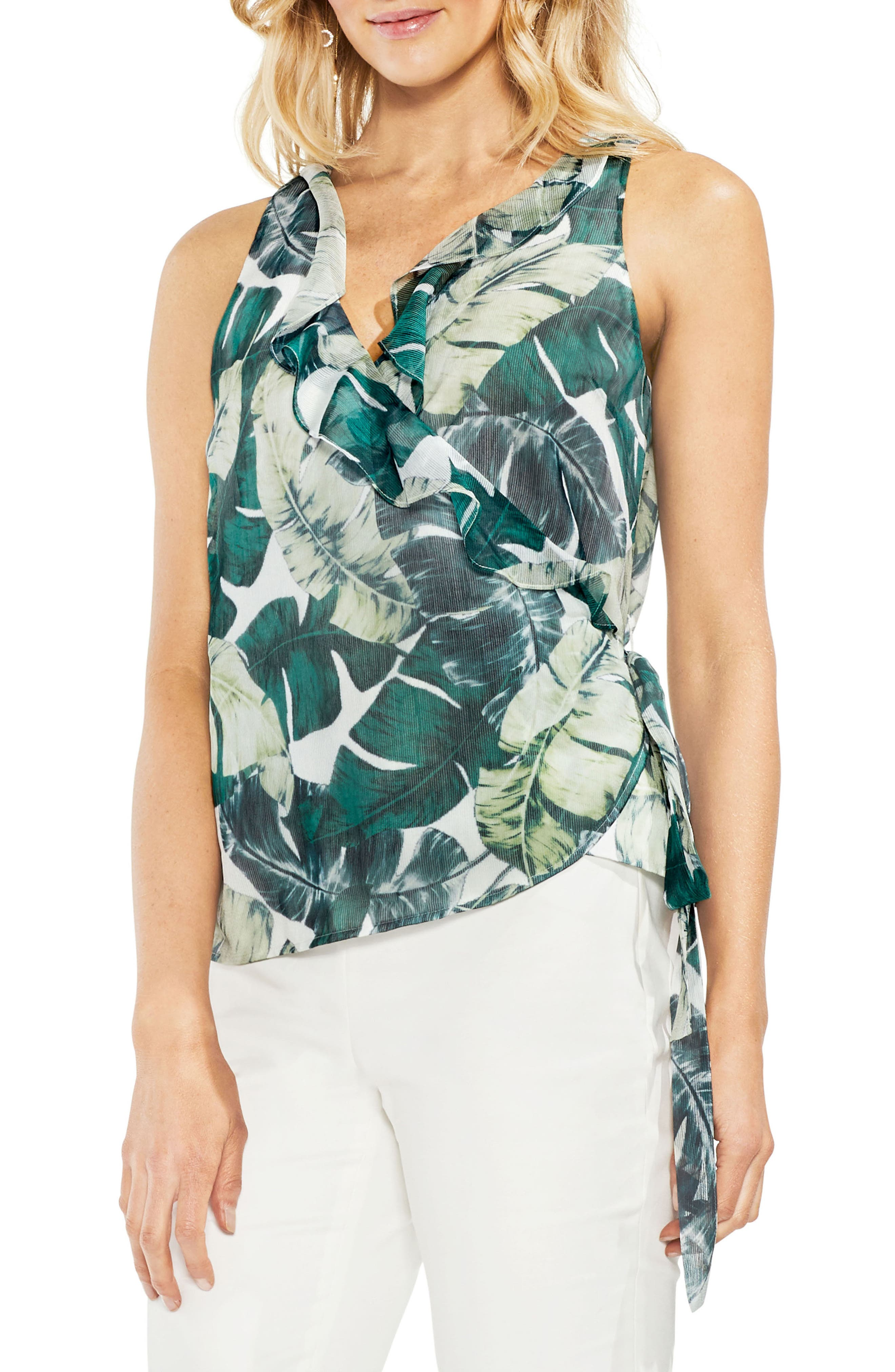 Jungle Palm Wrap Front Top,                         Main,                         color, New Ivory