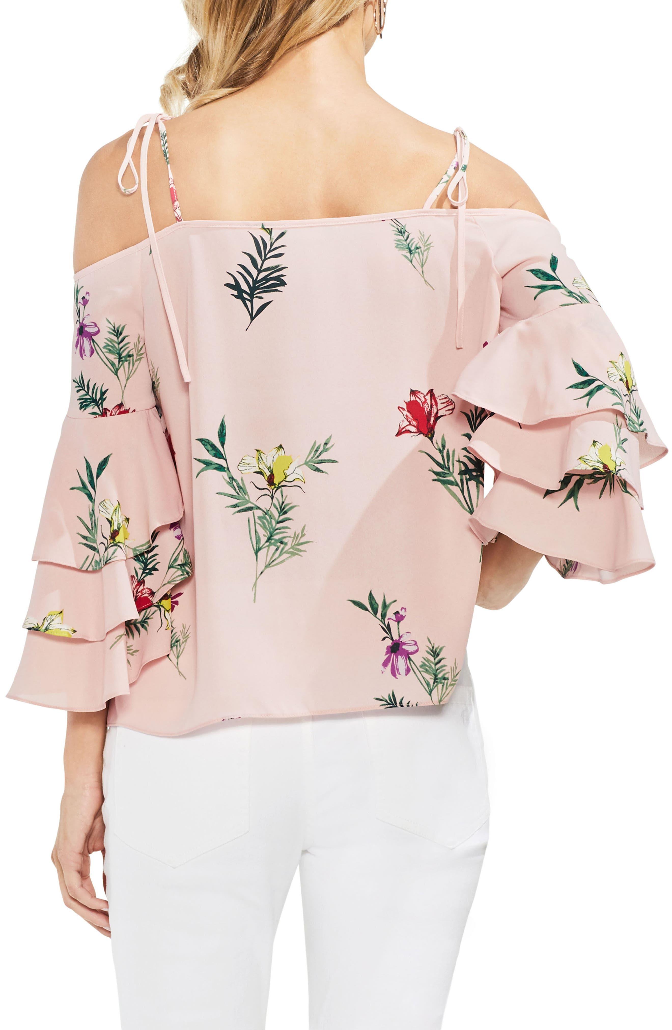 Tropical Garden Tie Shoulder Top,                             Alternate thumbnail 2, color,                             Eden Pink