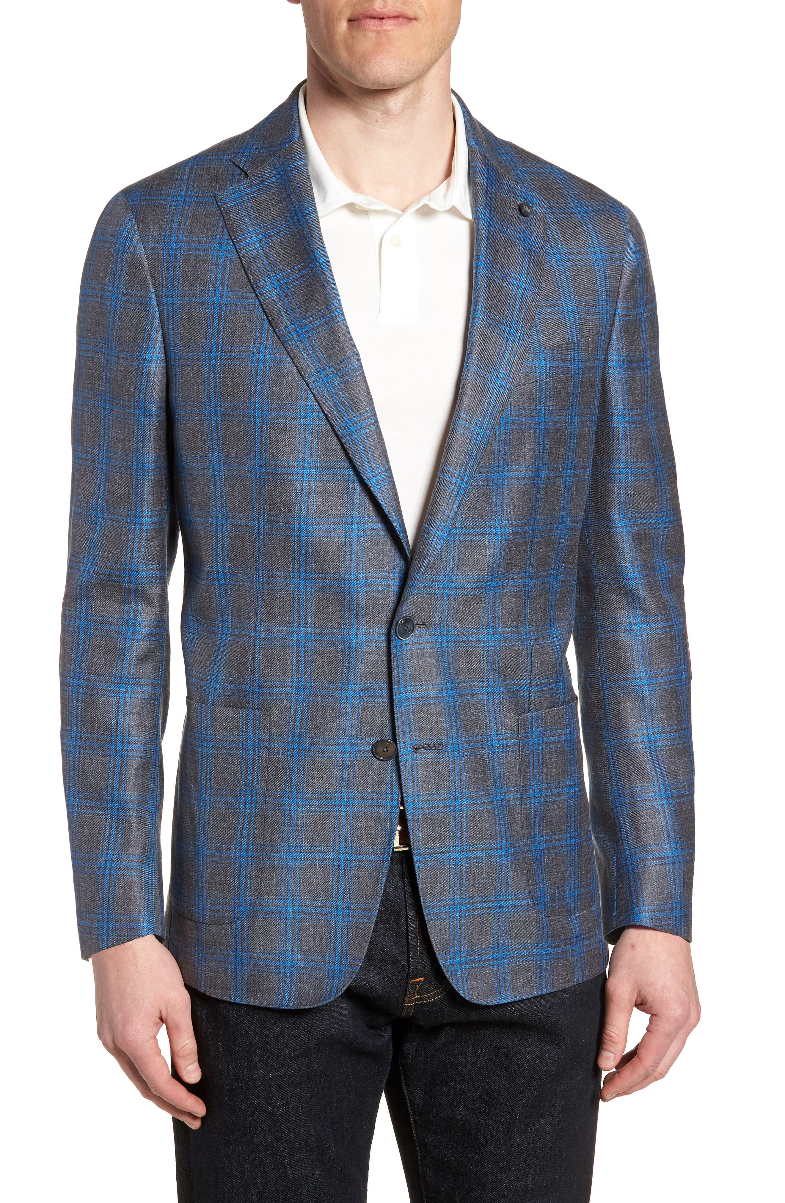Marina Windowpane Wool & Silk Blend Sport Coat,                             Main thumbnail 1, color,                             Onda Blue