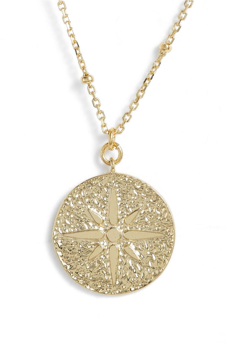 North Star Medallion Necklace,                         Main,                         color, Gold