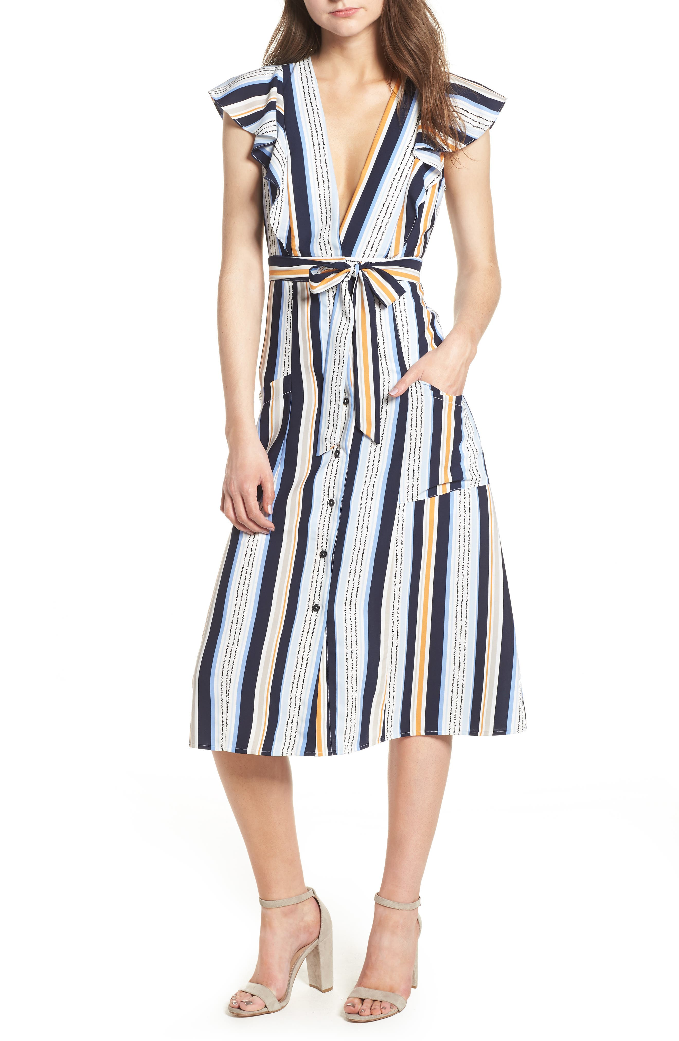 Claudia Stripe Midi Dress,                         Main,                         color, Blue/ Orange Stripe