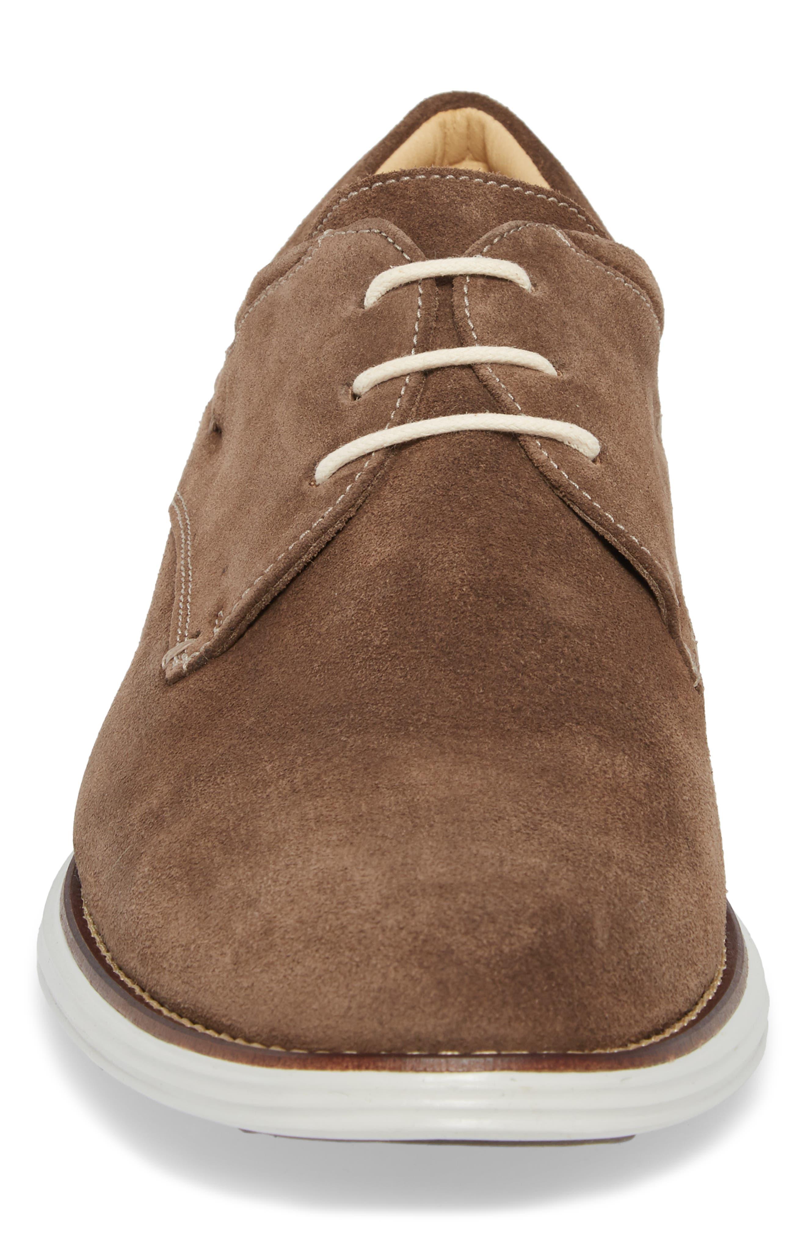 Planalto Plain Toe Derby,                             Alternate thumbnail 4, color,                             Suede Truffle Leather