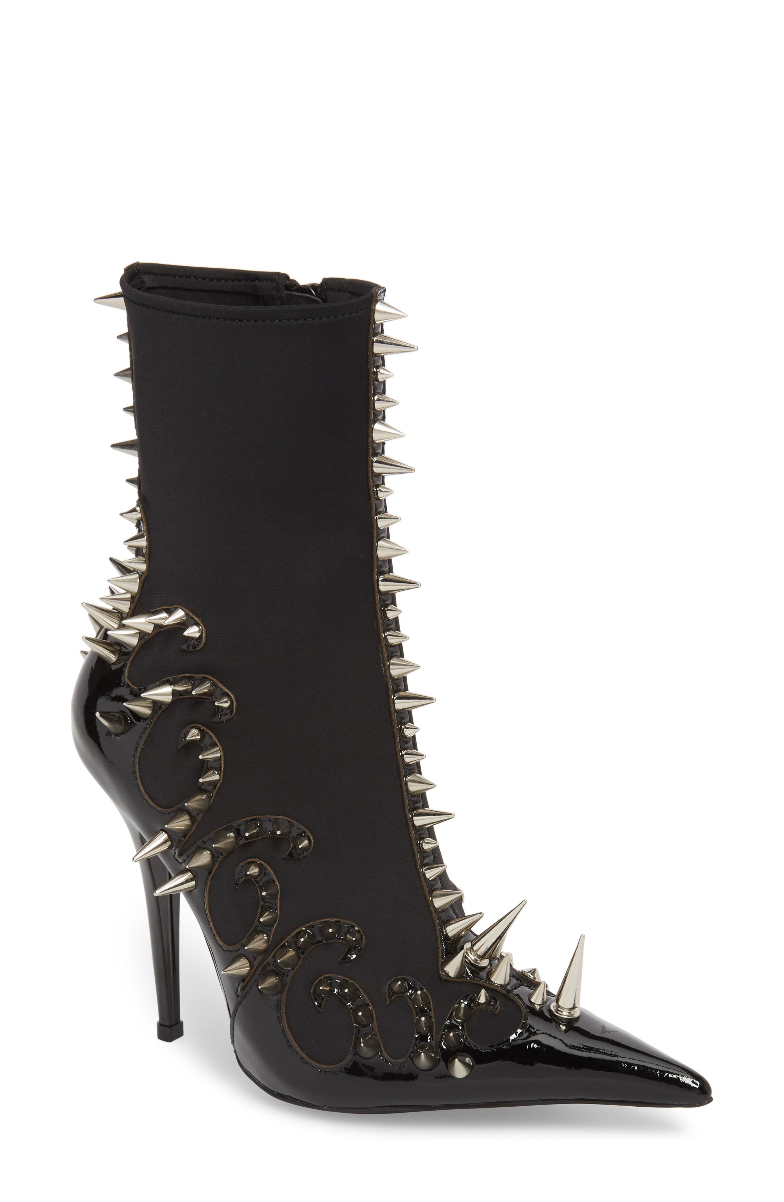 Savage Spike Bootie,                             Main thumbnail 1, color,                             Black/ Silver Patent Leather