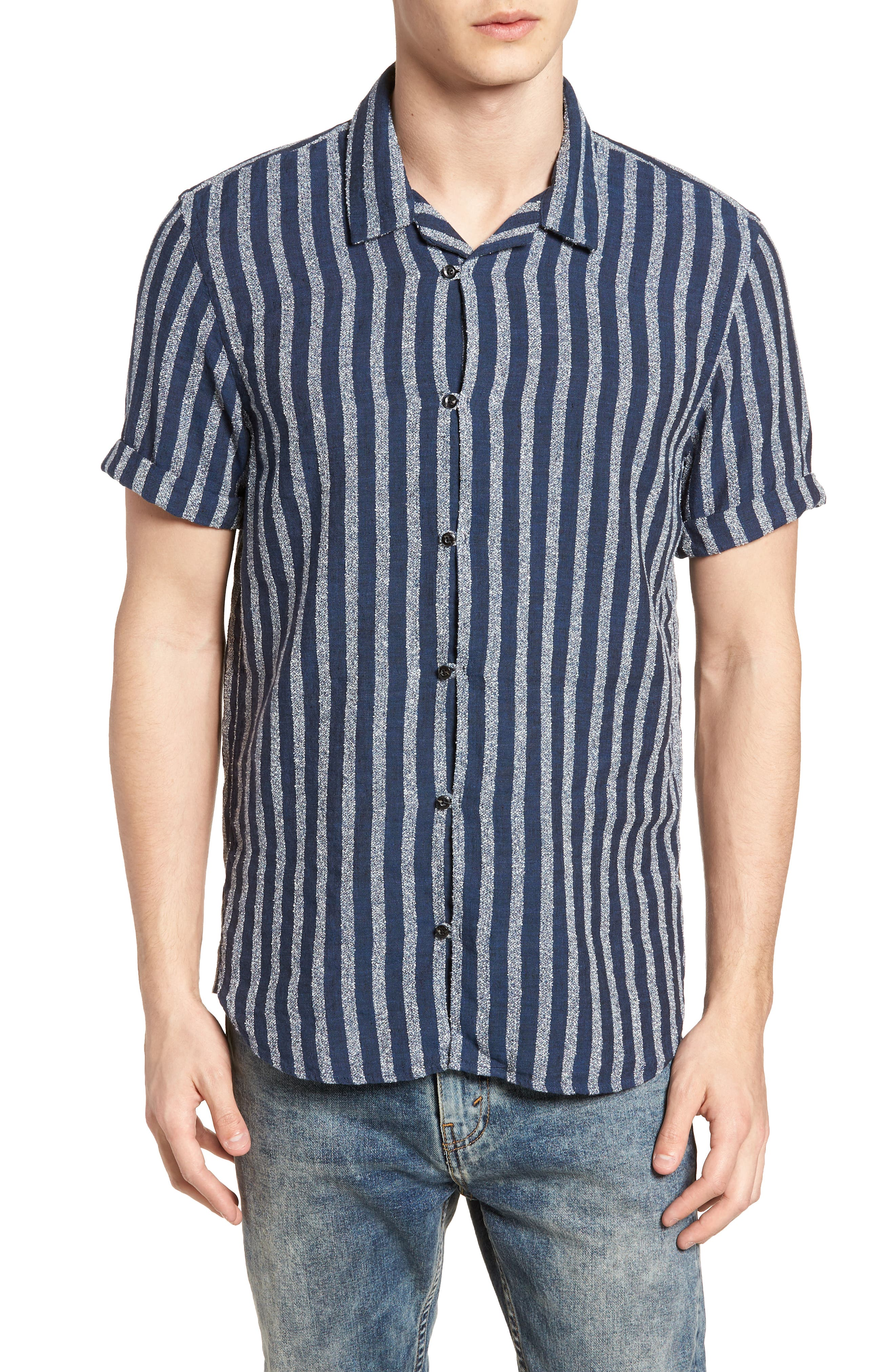 Stripe Woven Shirt,                         Main,                         color, Combo D
