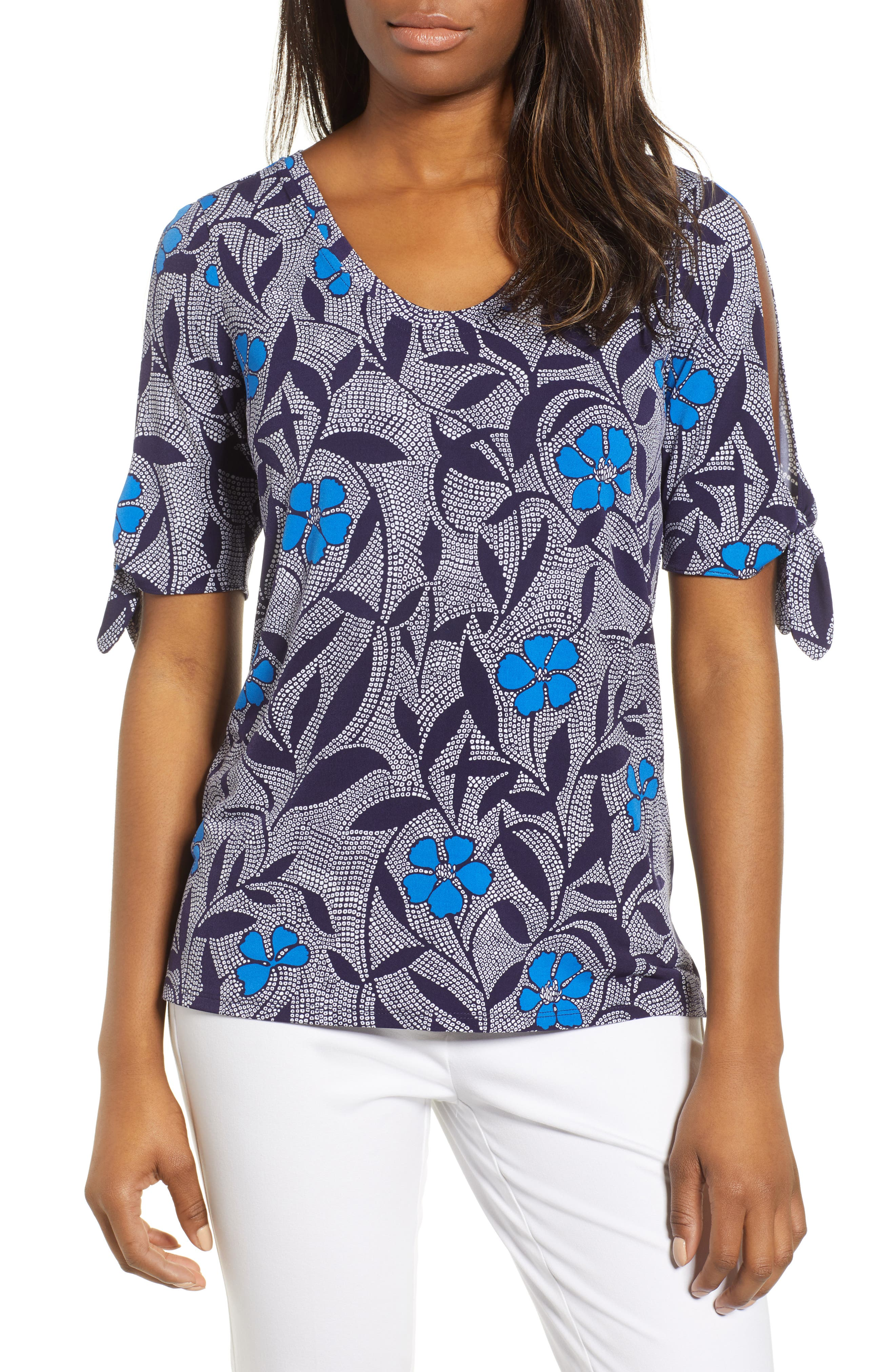 Pacific Bloom Top,                             Main thumbnail 1, color,                             Evening Navy
