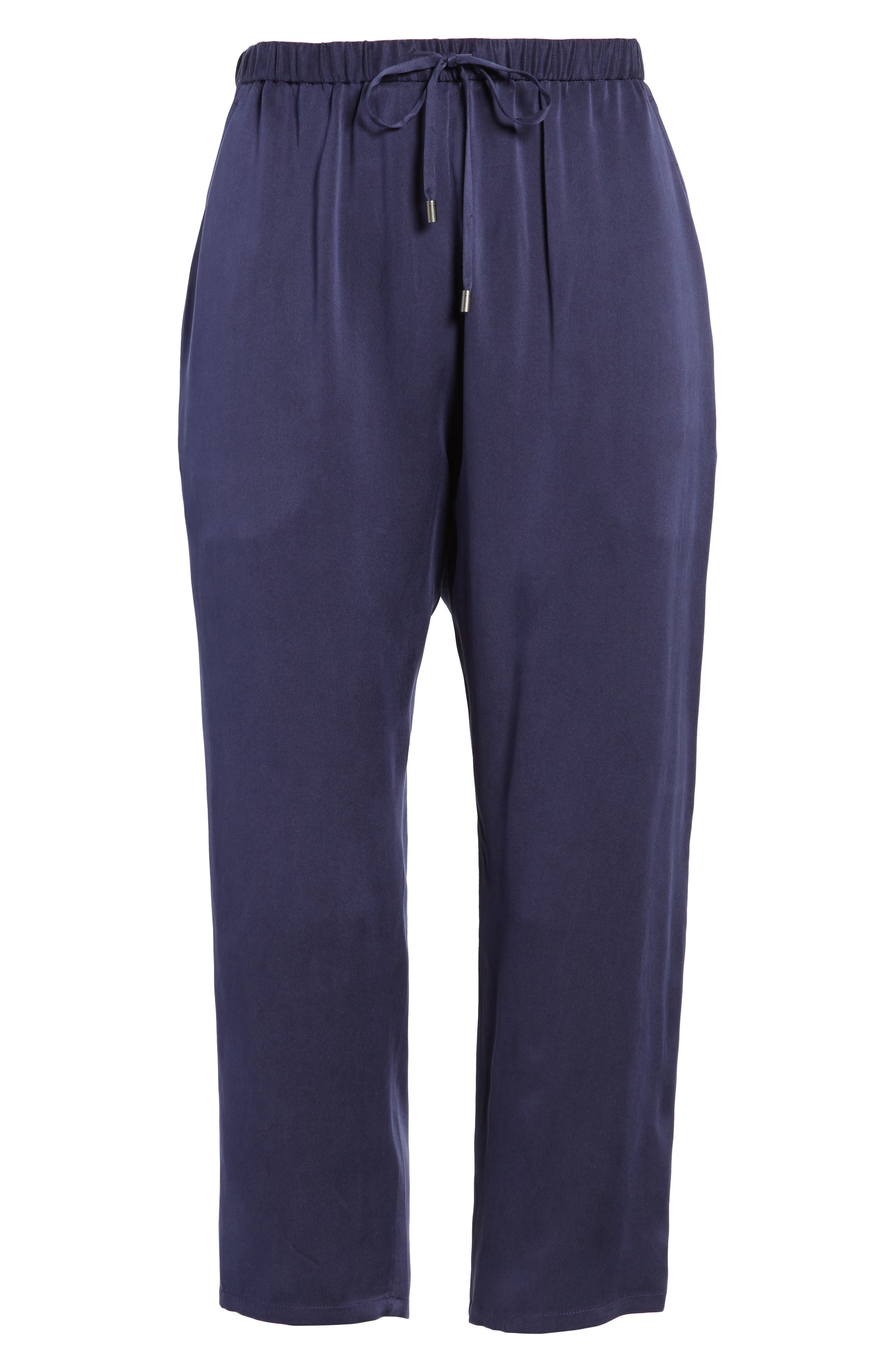 Slouchy Silk Crop Pants,                             Alternate thumbnail 7, color,                             Salt Lake