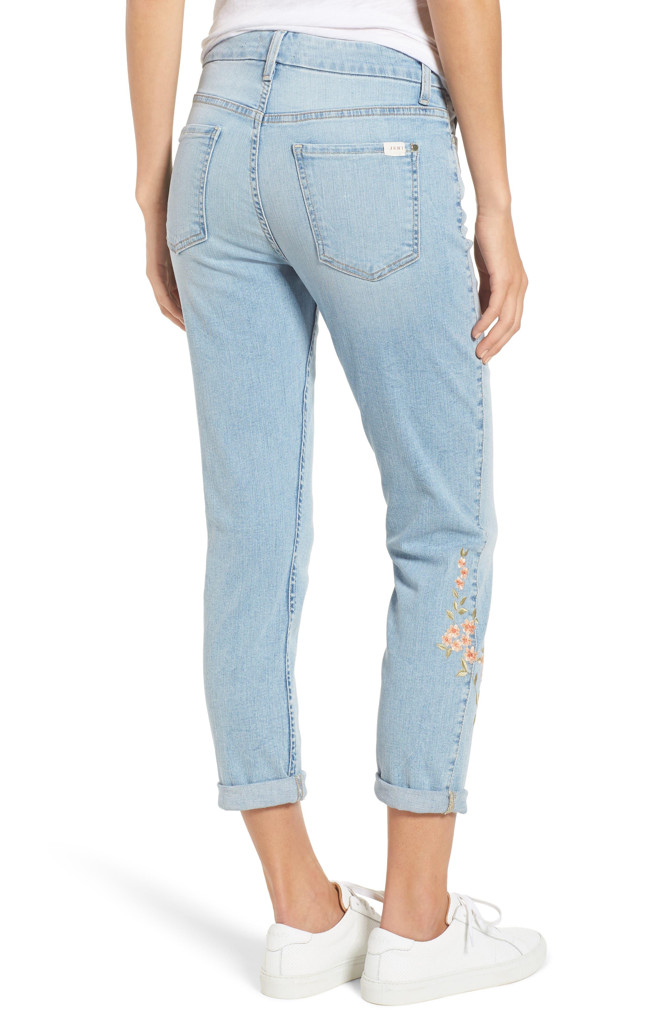 Embroidered Slim Boyfriend Jeans,                             Alternate thumbnail 2, color,                             Riche Touch Playa Vista