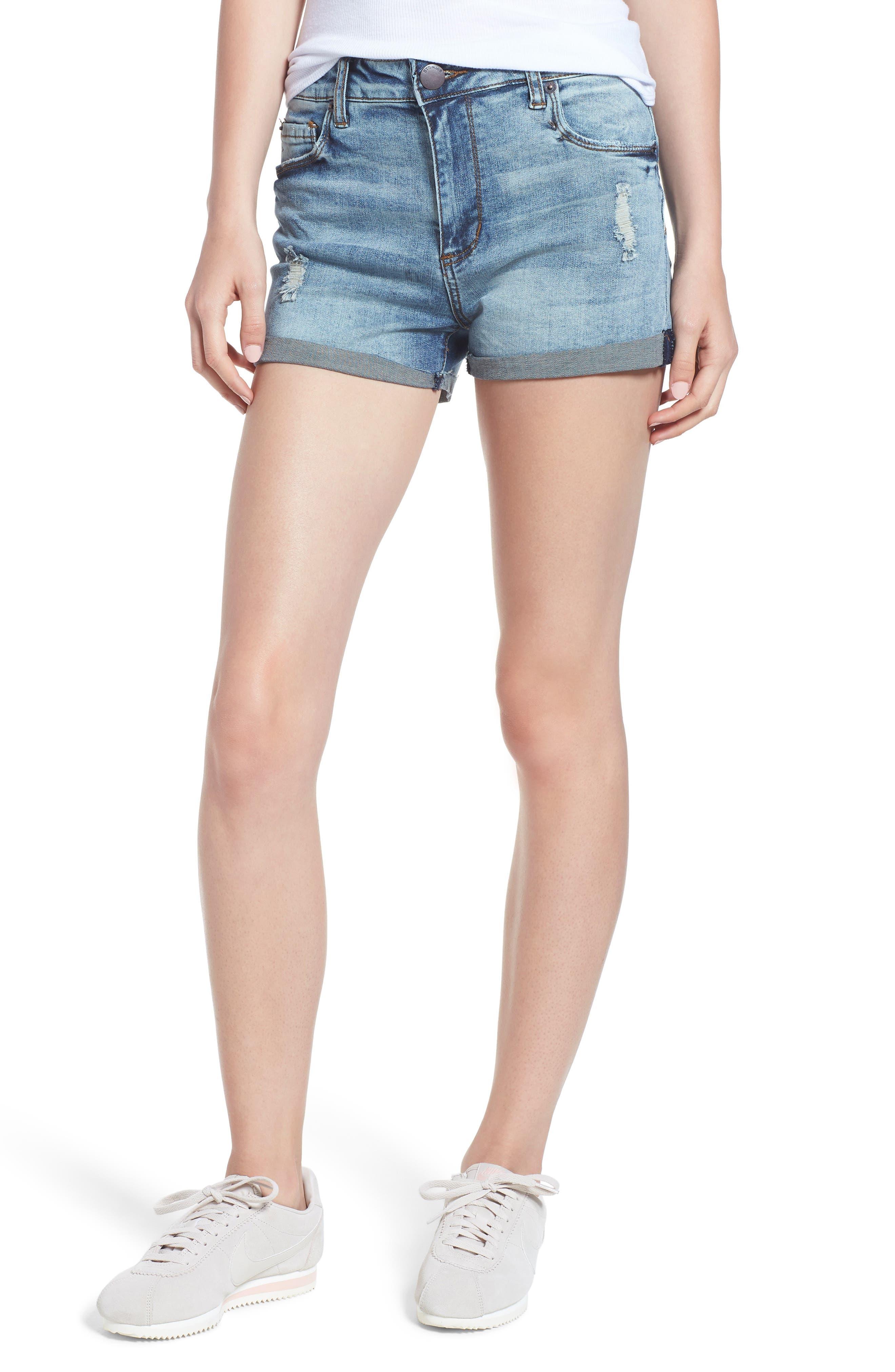 STS Blue Distressed High Waist Denim Shorts,                             Main thumbnail 1, color,                             Rivindel W/ Lt Base