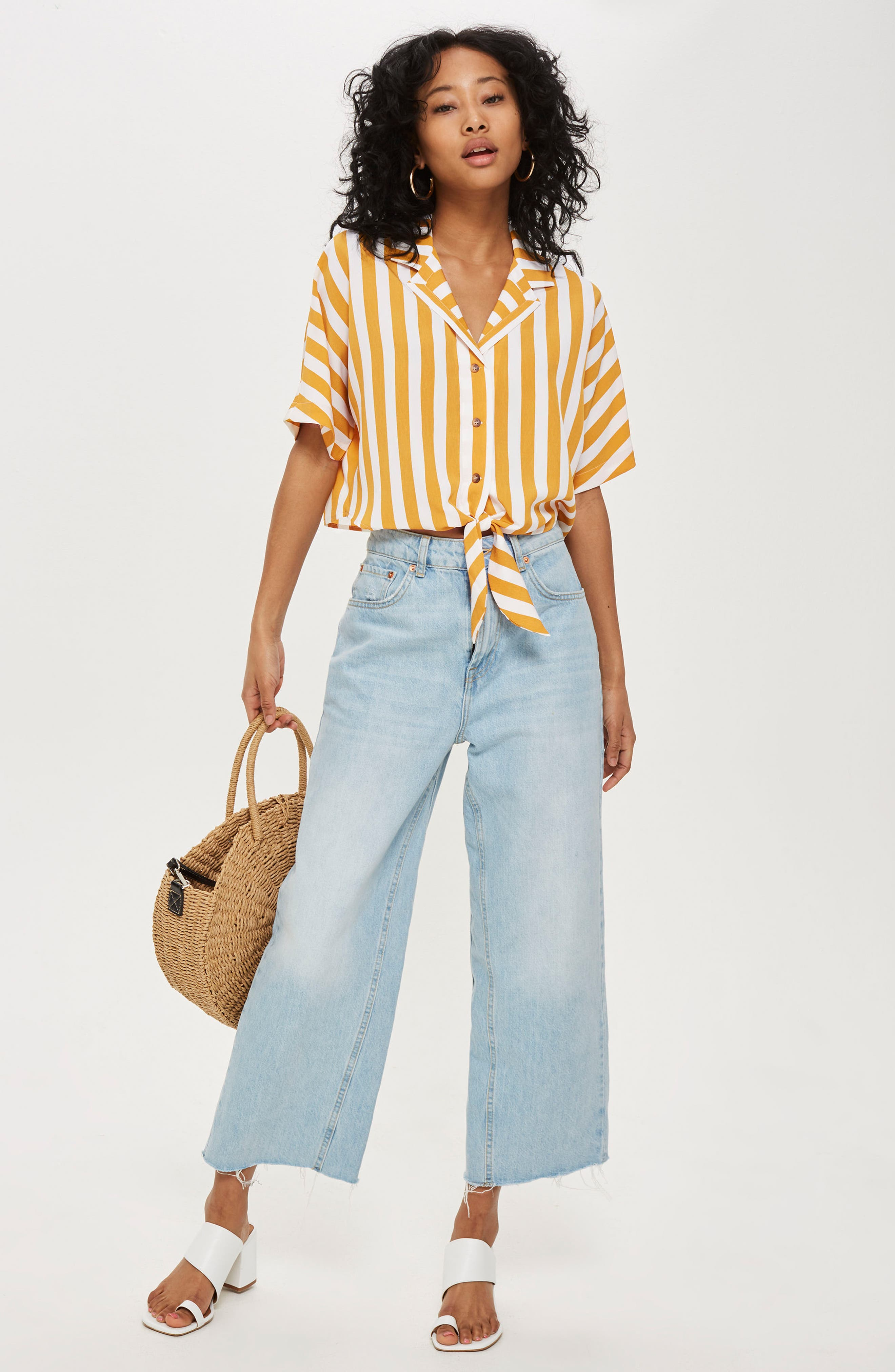 Stripe Tie Front Cropped Collar Shirt,                             Alternate thumbnail 2, color,                             Mustard Multi