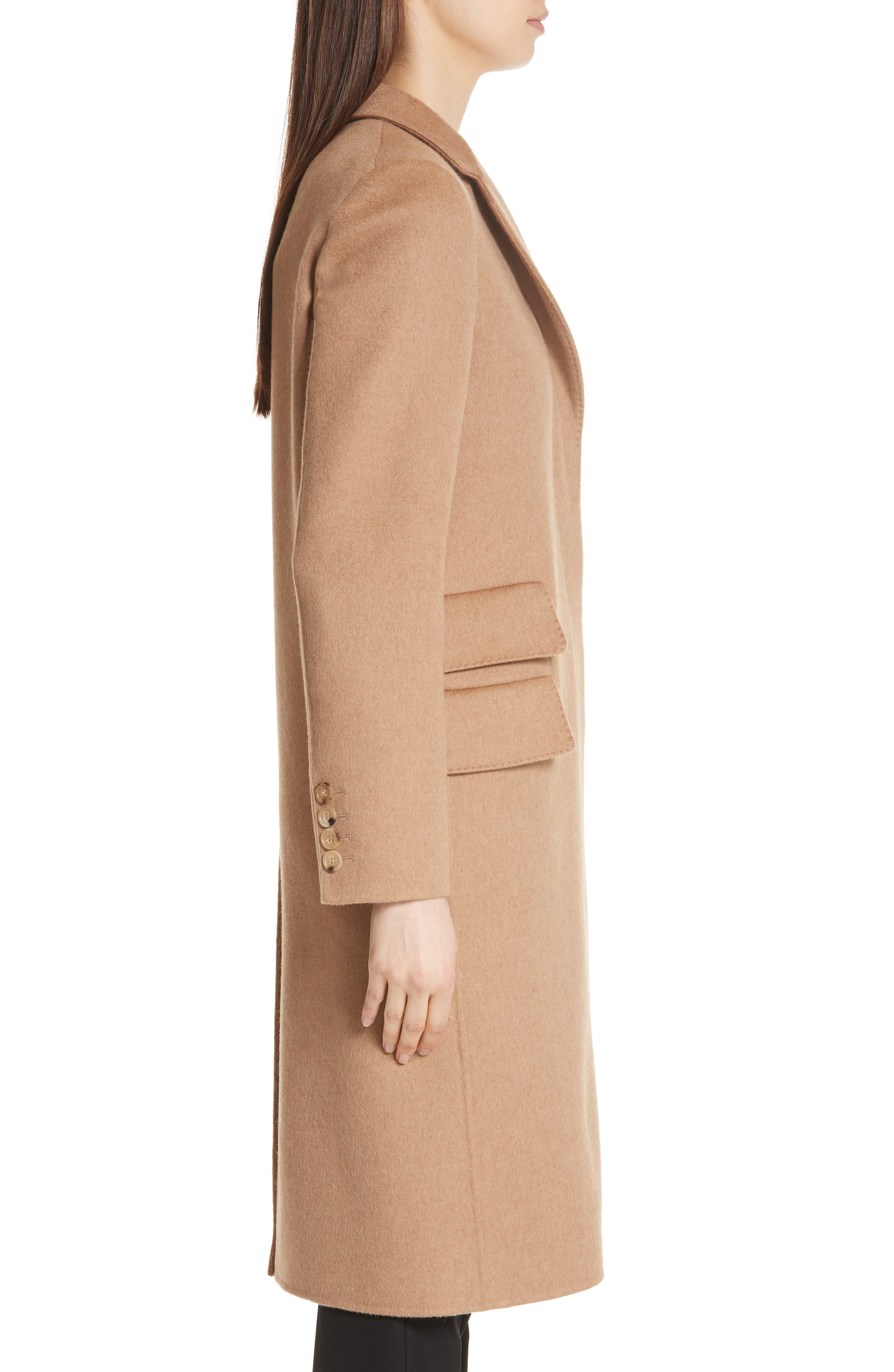 Aureo Camel Hair Coat,                             Alternate thumbnail 3, color,                             Camel