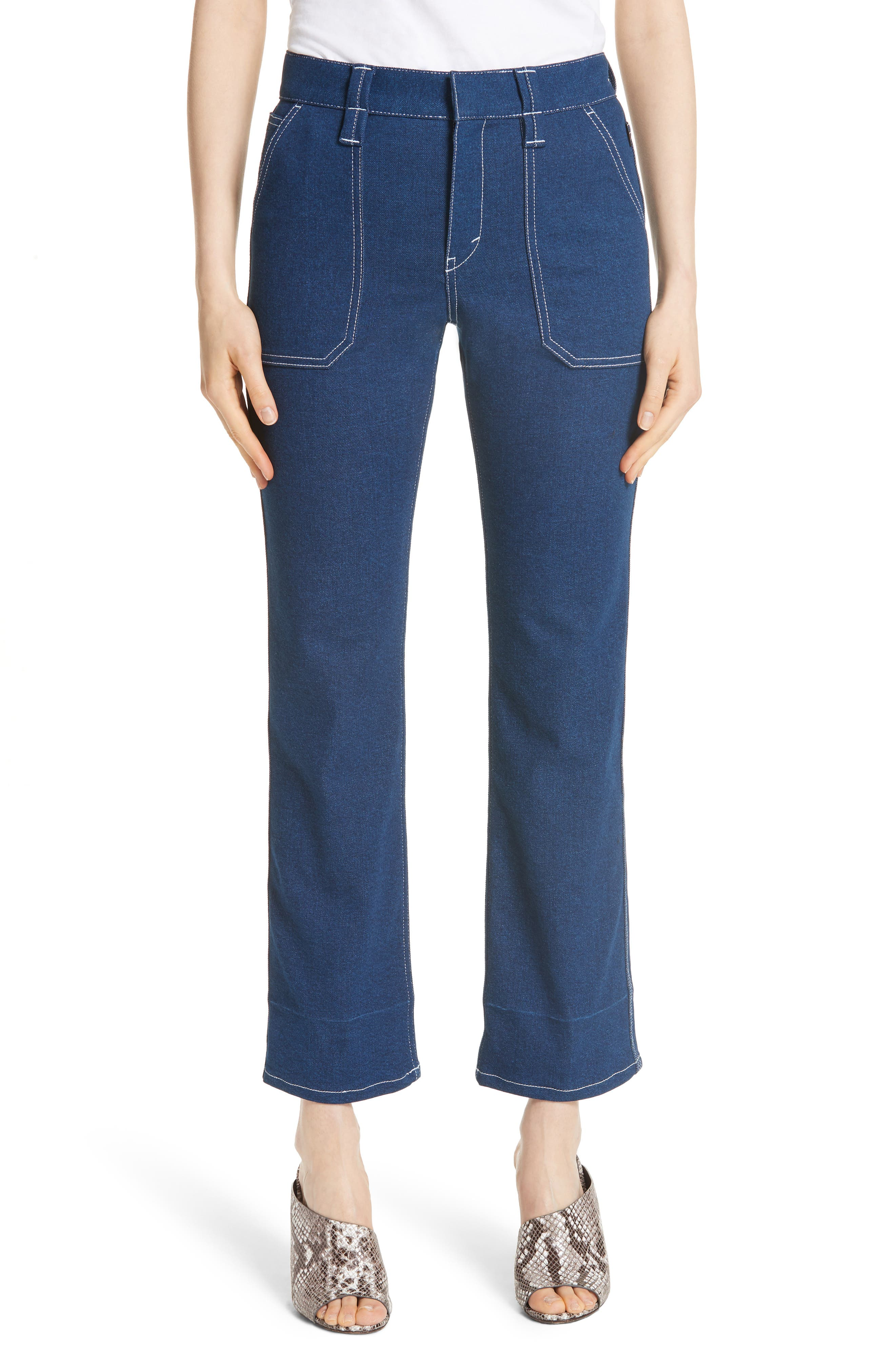 Contrast Circle Stitch Jeans,                             Main thumbnail 1, color,                             Ultramarine